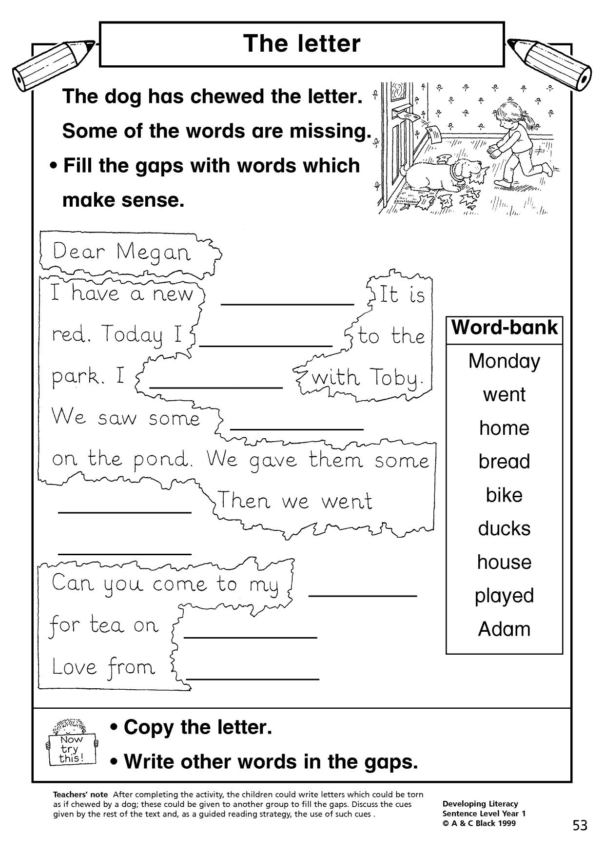 Sentence Writing Activities Year 1 Movie