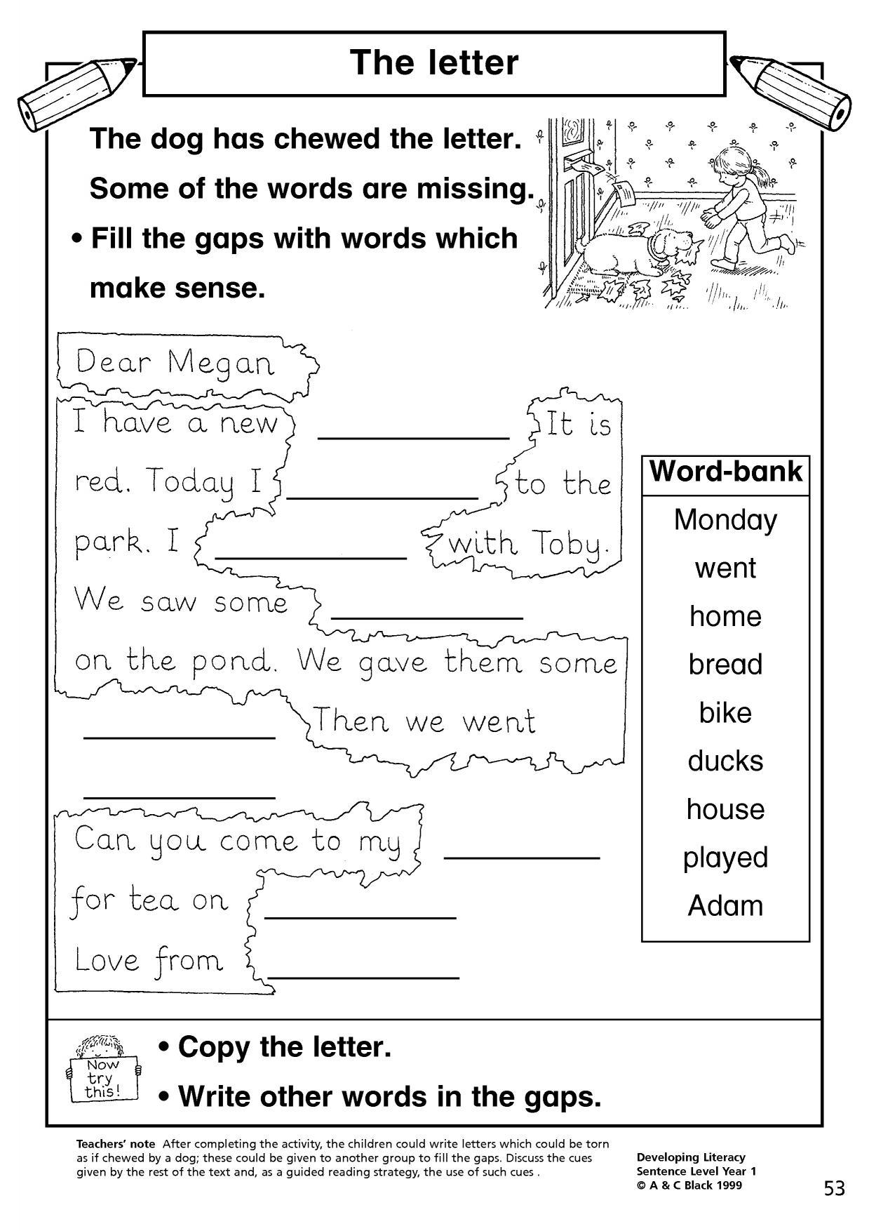 Sentence Writing Activities Year 1 Movie