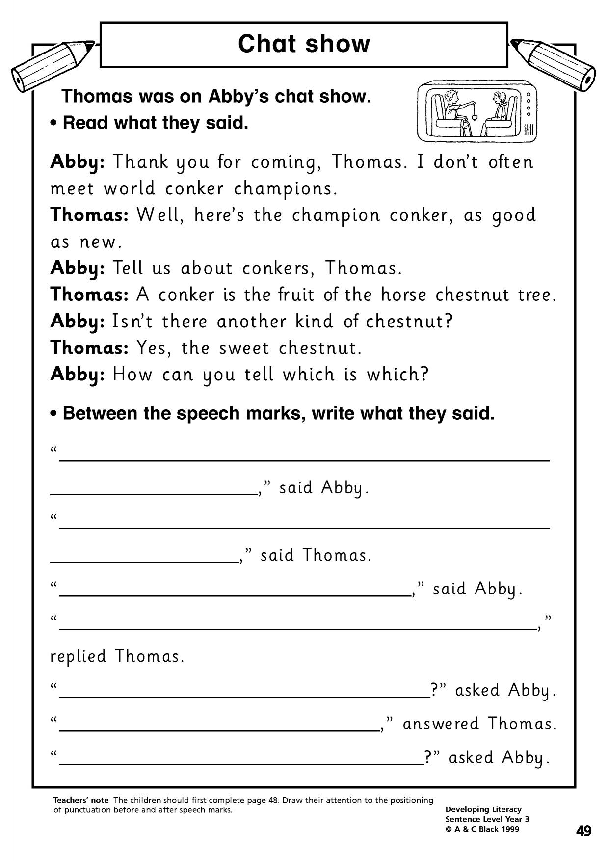 Printables Of Literacy Homework Year 3 Punctuation