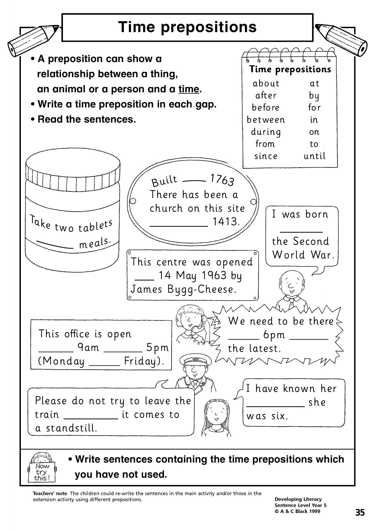 Preposition Worksheet Ks2