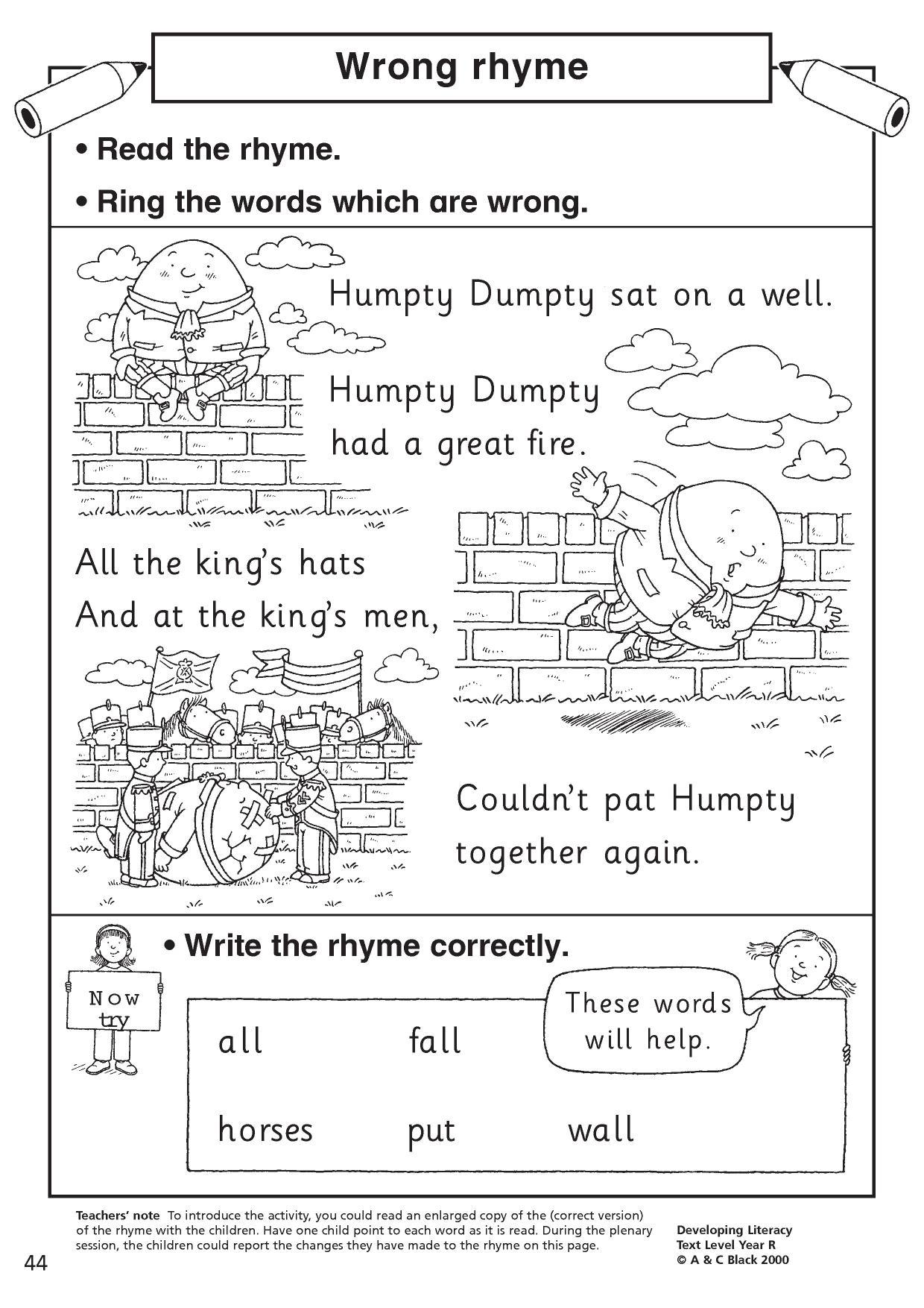 Printables Of Rhyming Words Worksheet Eyfs