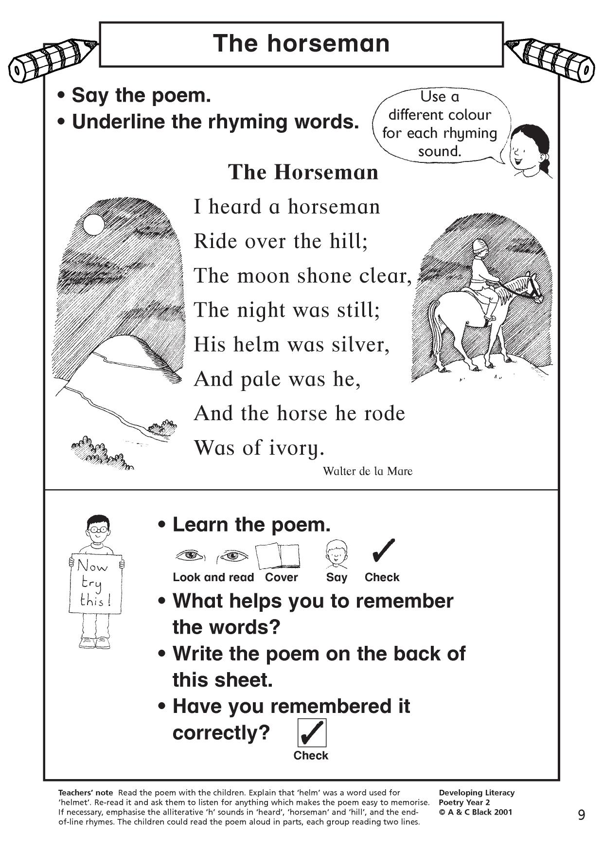 Rhyming Words Sentences Worksheet