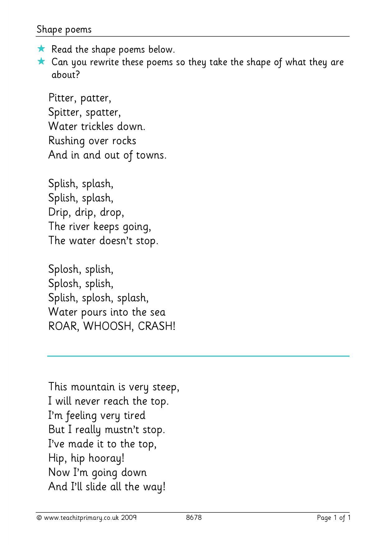 Shape Poem Worksheet