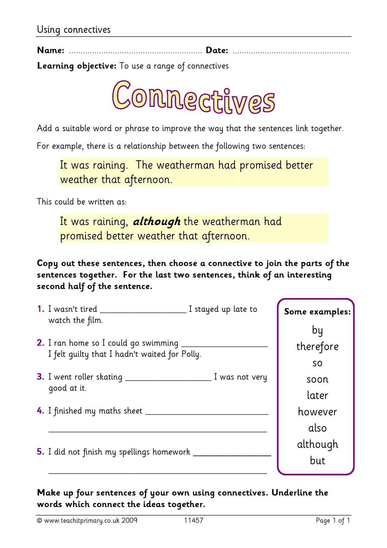 Time Connectives Homework Ks1