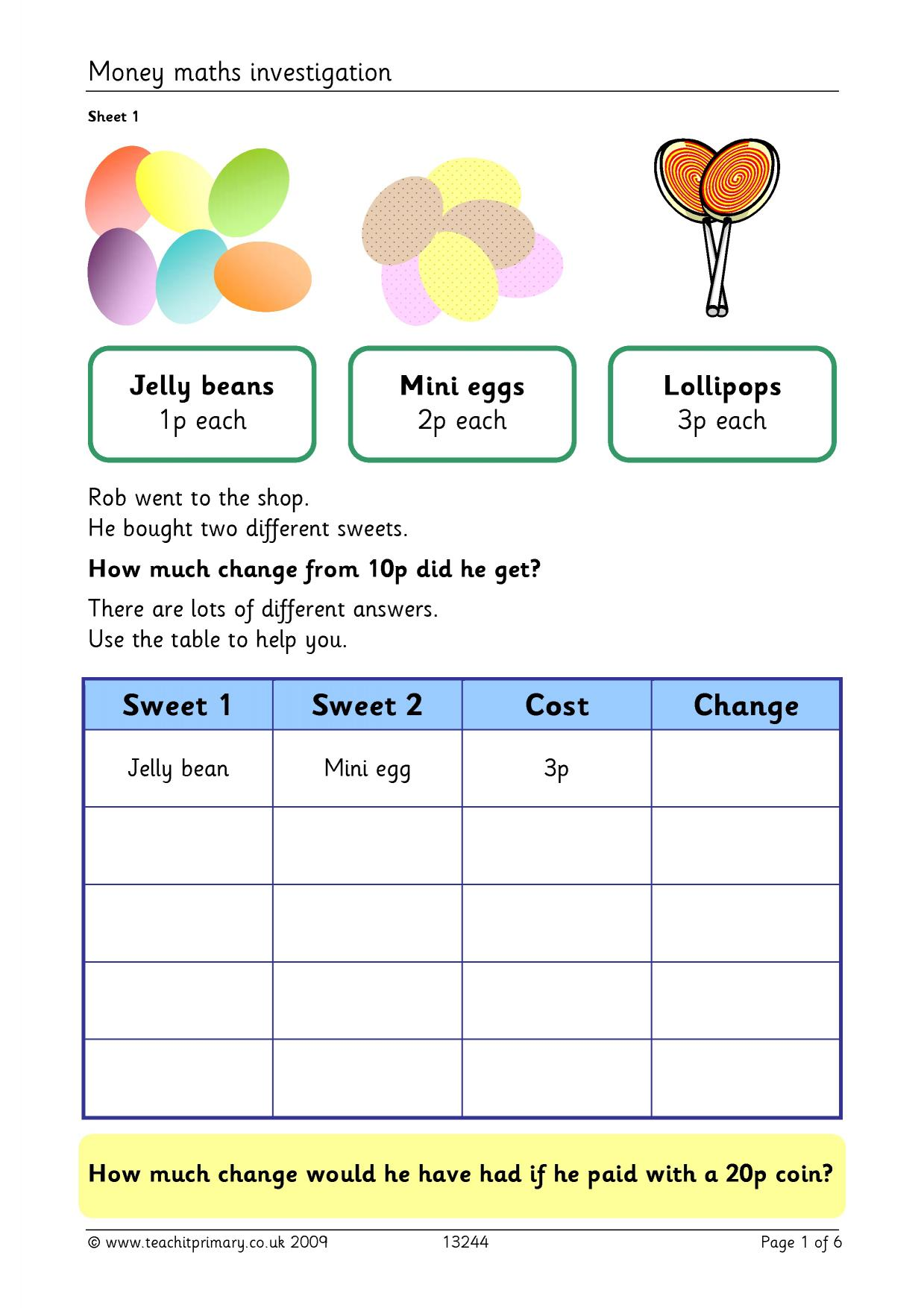 Value For Money Worksheet Ks2