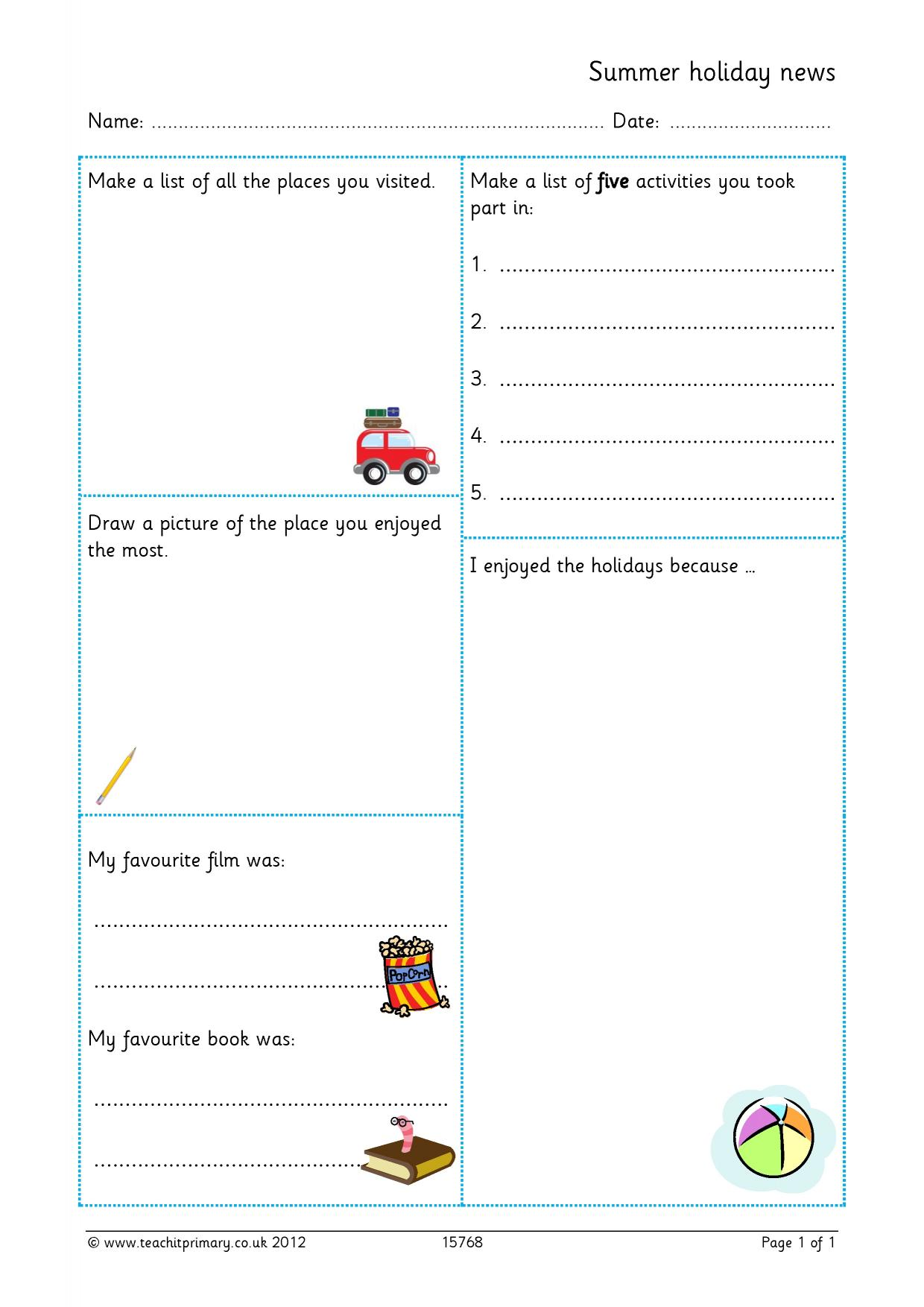 Recount Writing Planning Year 2
