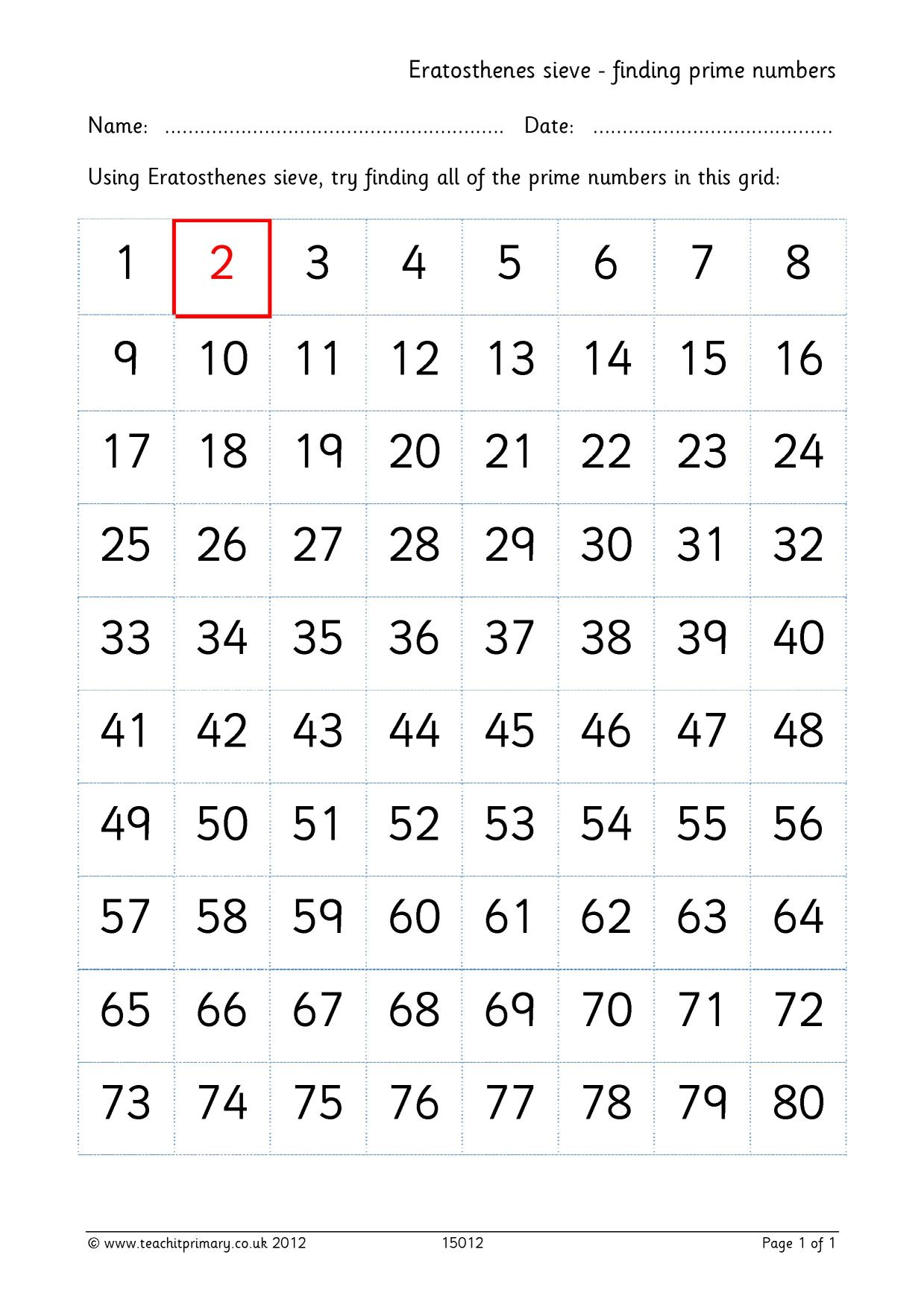 Prime Numbers Sieve Of Eratosthenes Worksheet