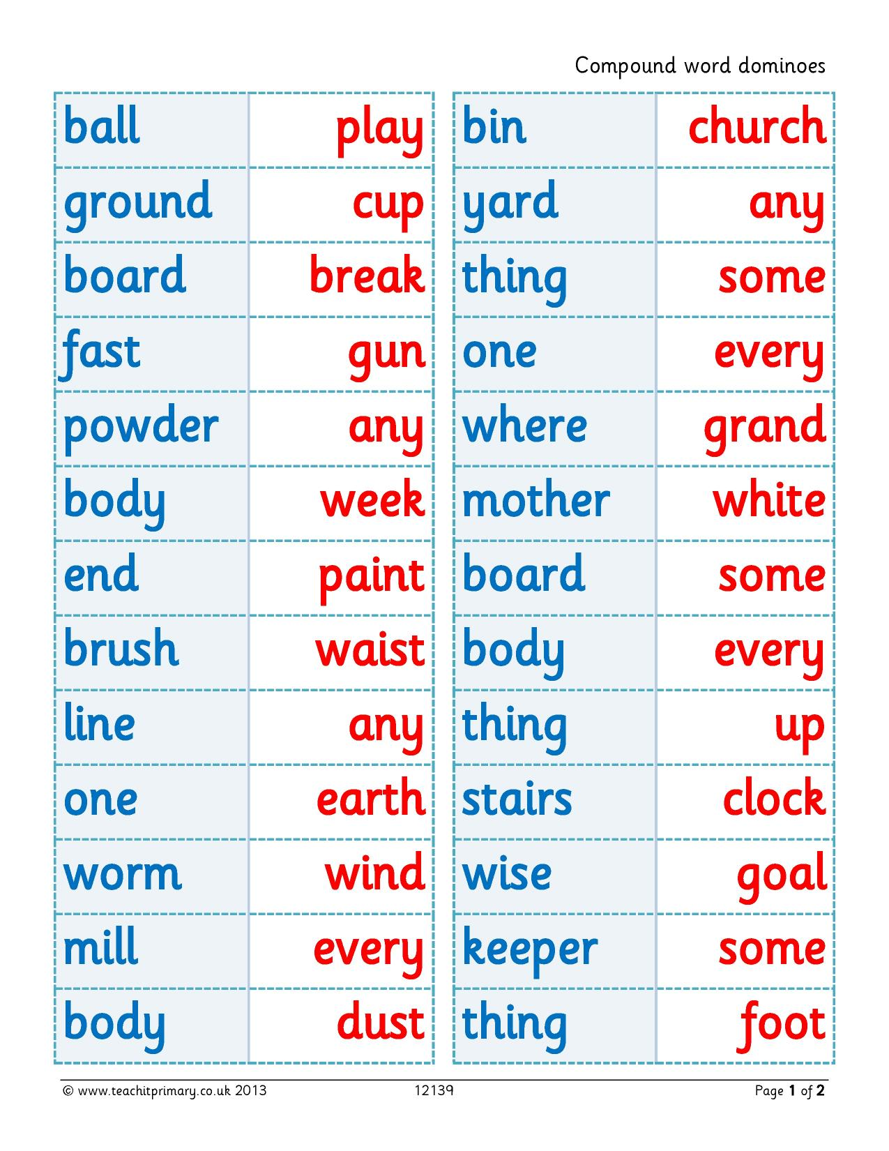 Compound Word Dominoes