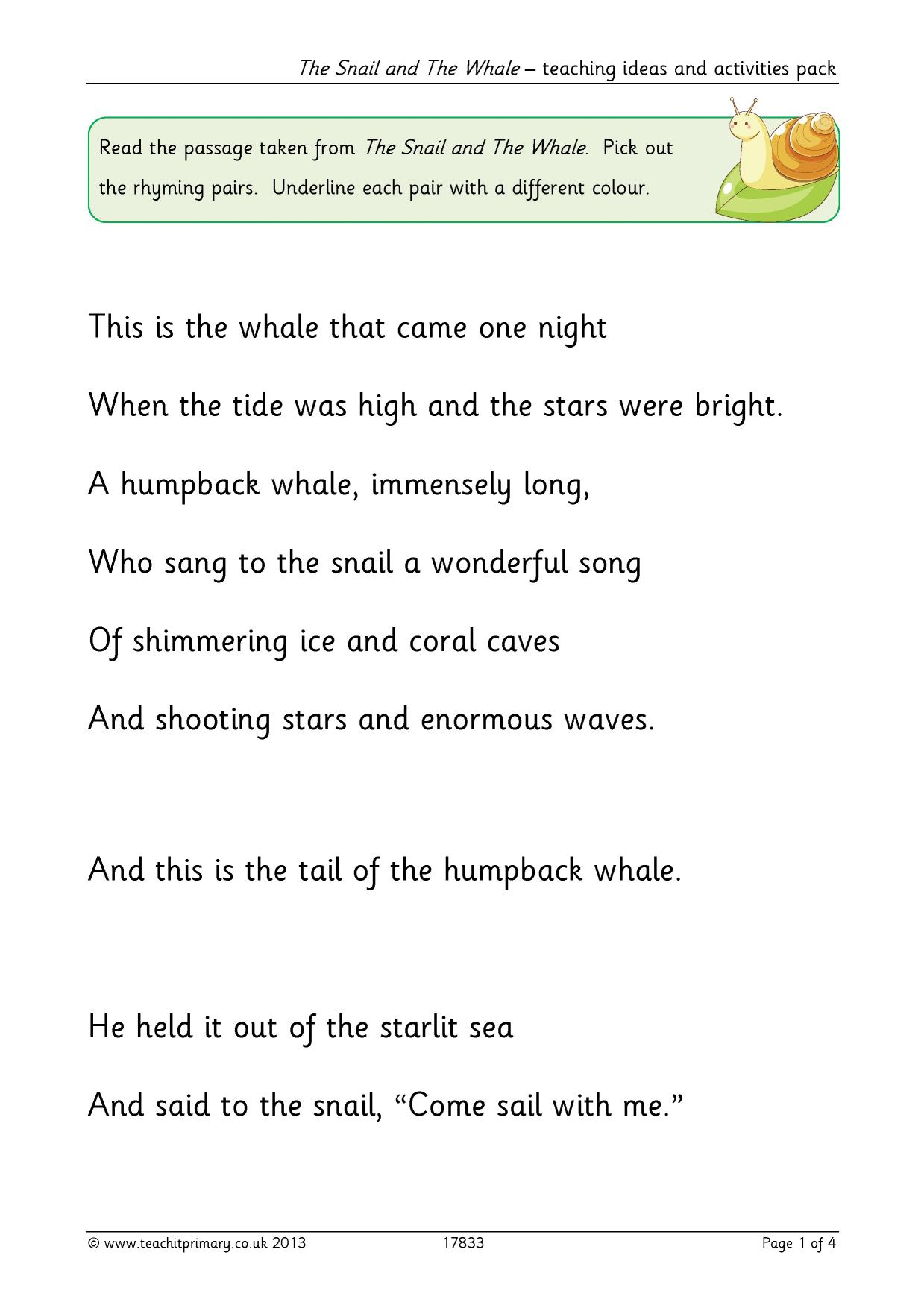 The Snail And The Whale Teaching Ideas And Activities Pack