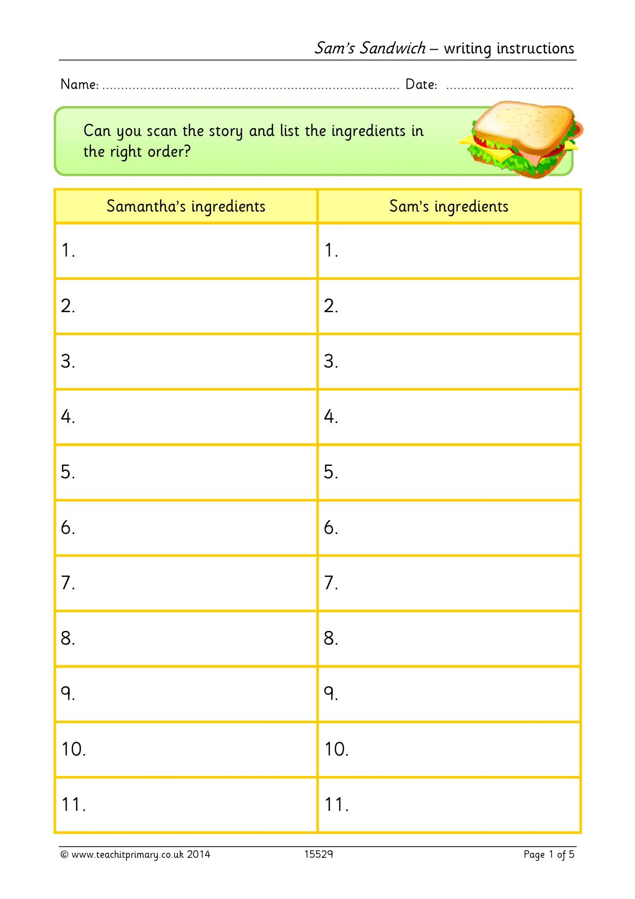 Sam S Sandwich Writing Instructions