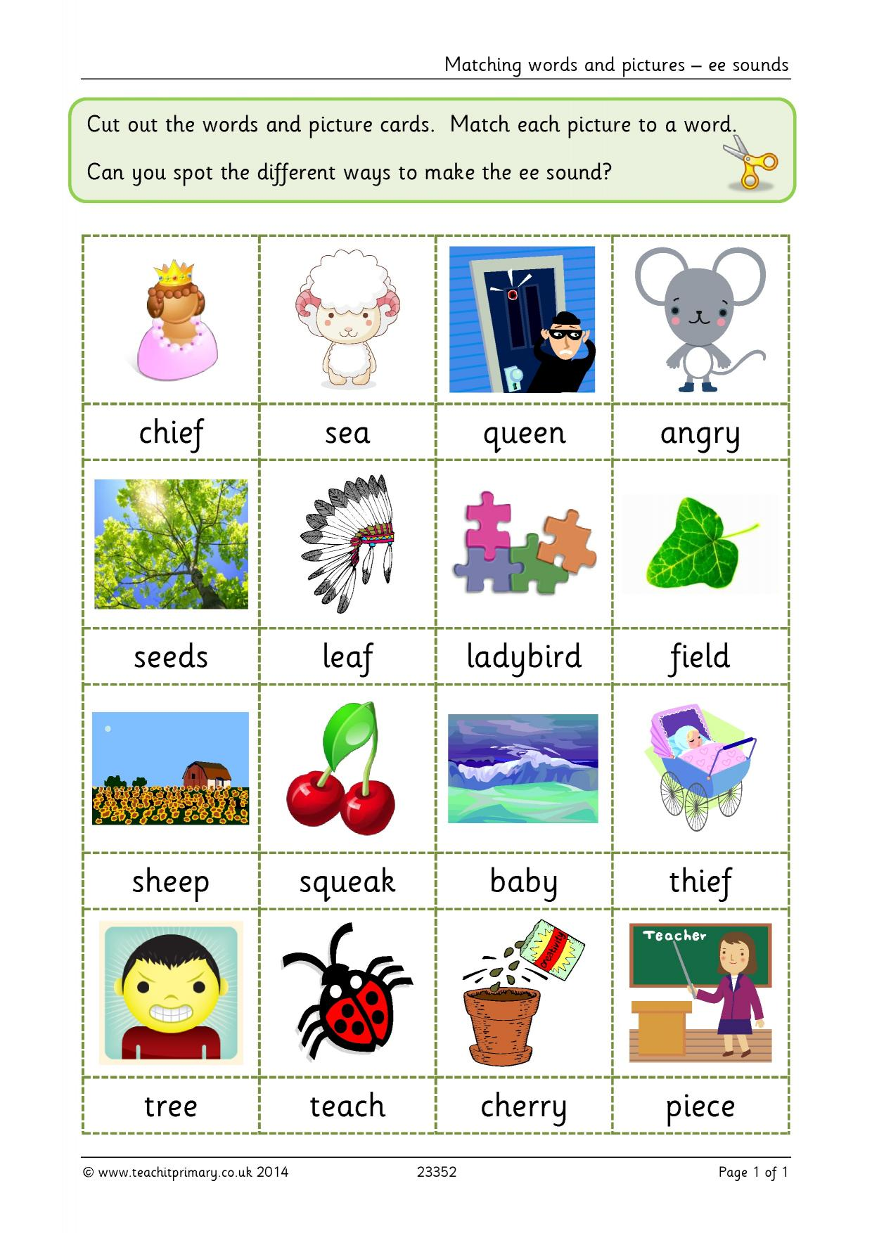 Matching Words And Pictures Ee Sounds