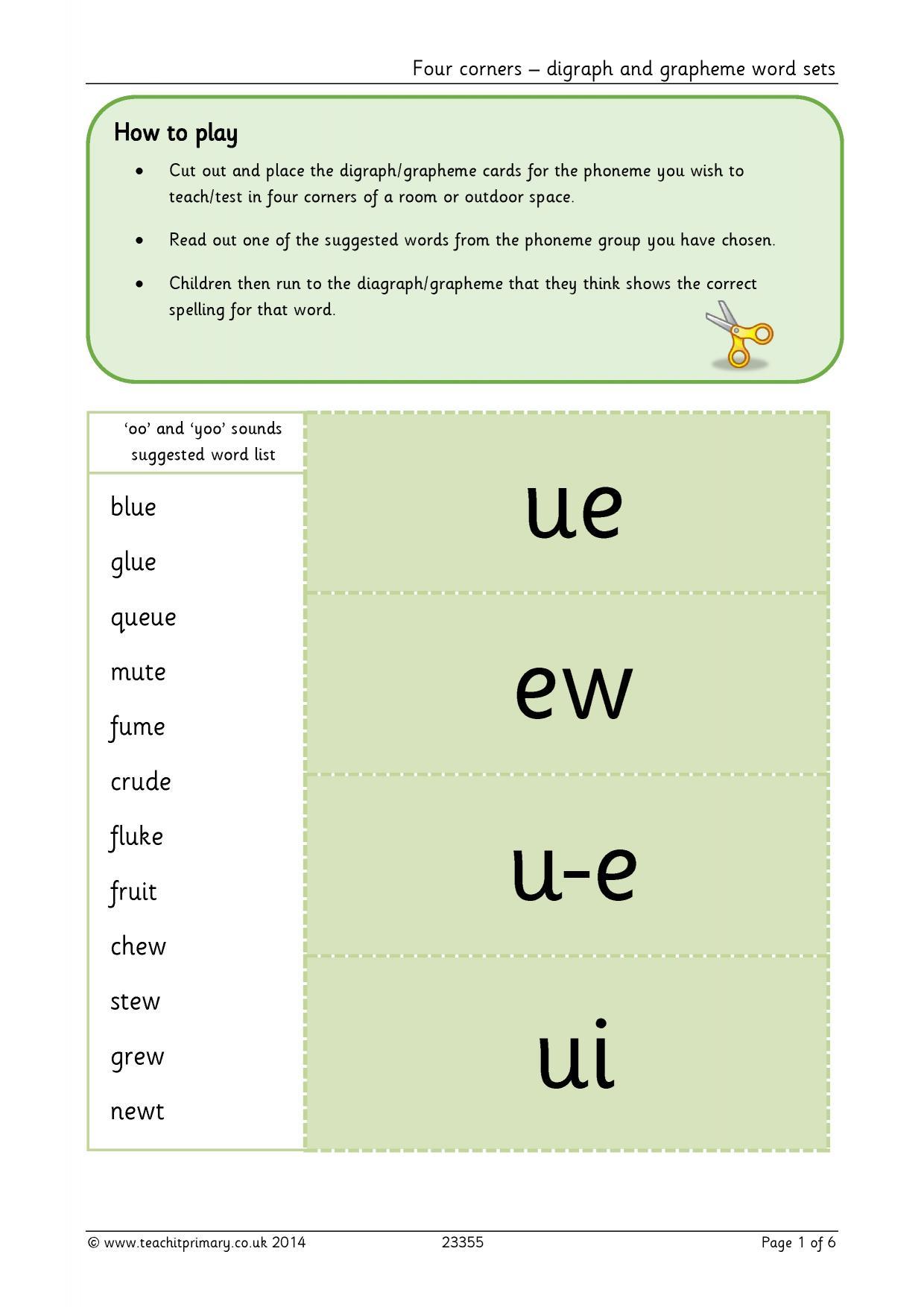 Four Corners Digraph And Grapheme Word Sets