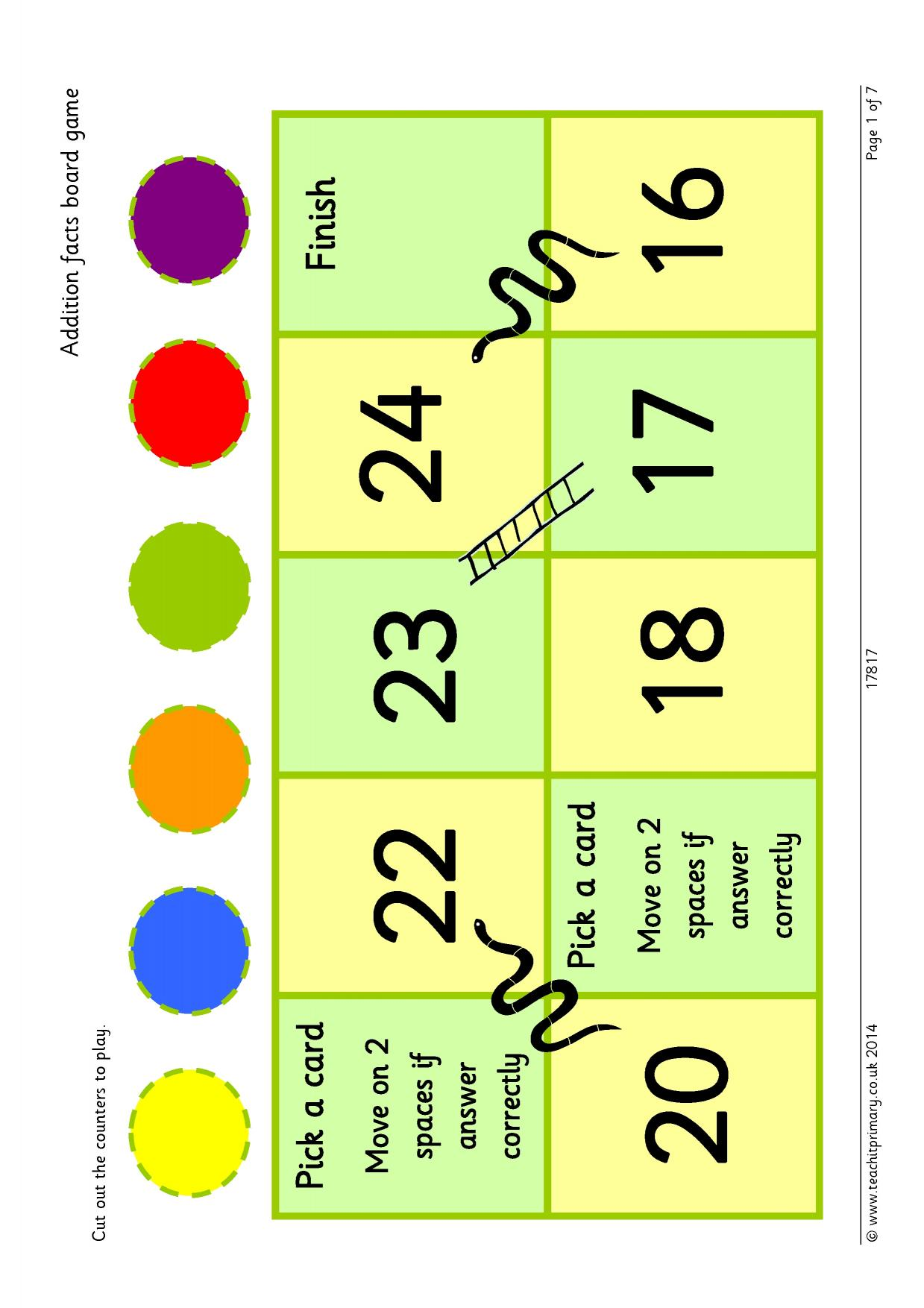 Addition Facts Board Game Up To 20