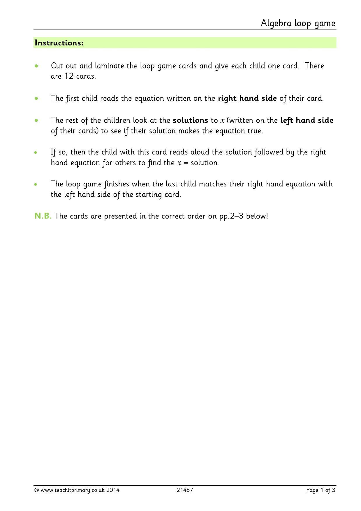 Algebra Loop Game