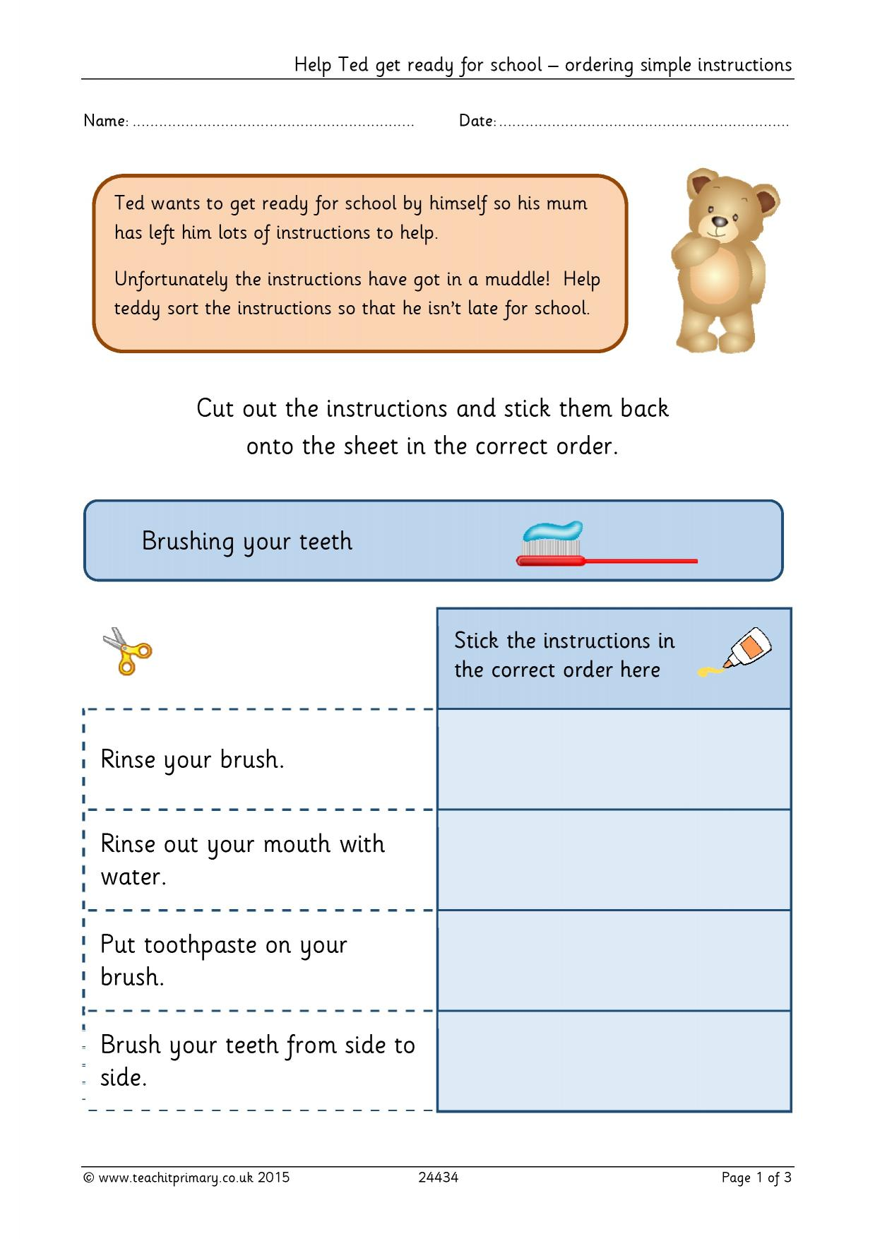 Help Ted Get Ready For School Ordering Simple Instructions