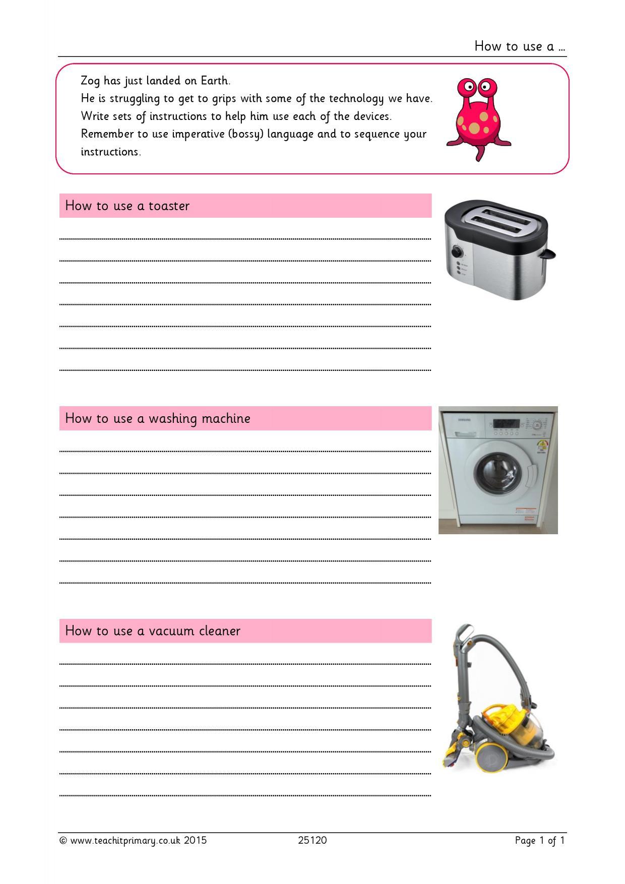 Writing Instructions Worksheet