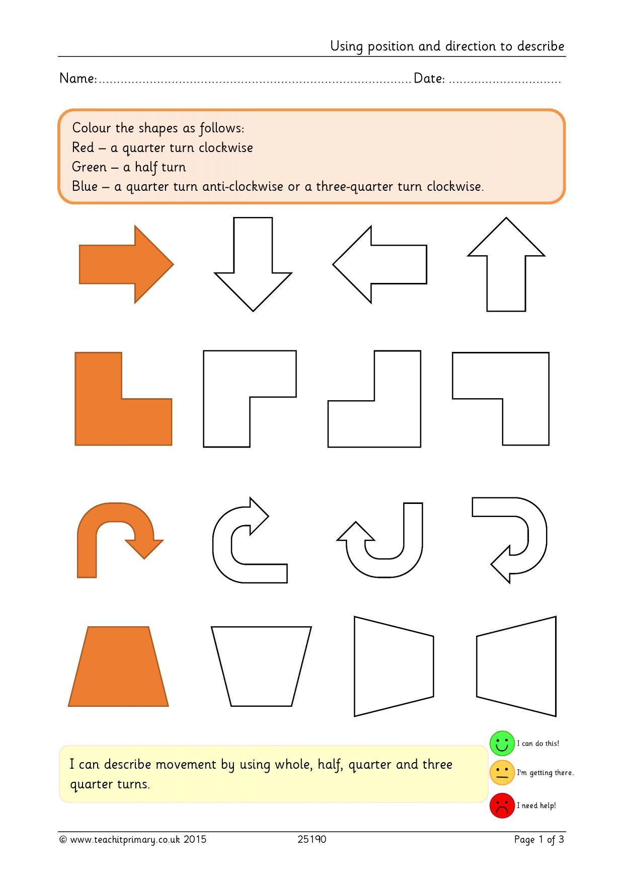 Rotation Worksheet Year 1