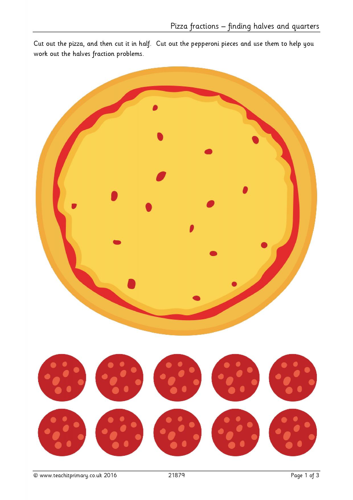 Pizza Fractions Finding Halves And Quarters