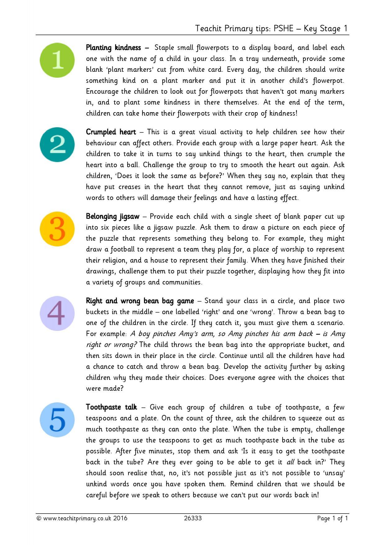 Teachit Primary Tips Pshe