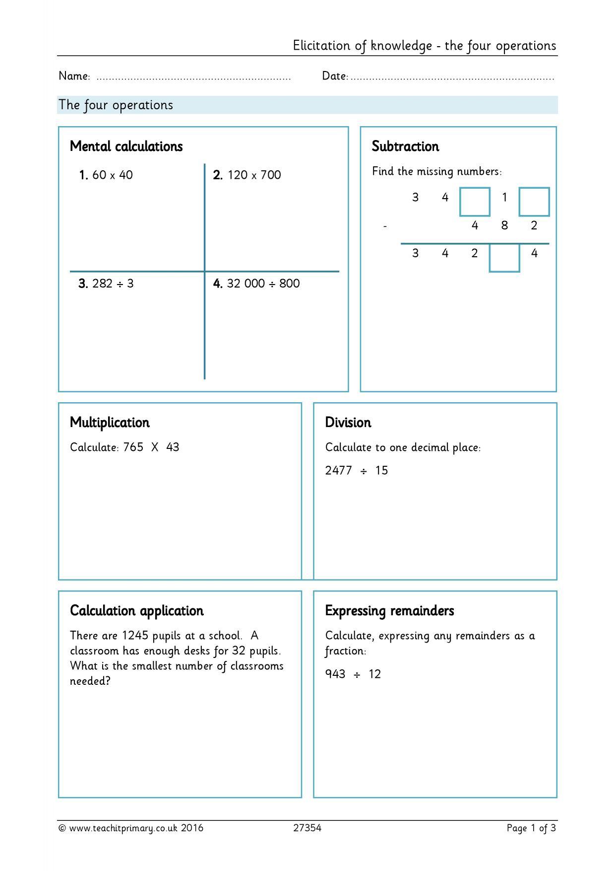 Subtraction Worksheet Ks2