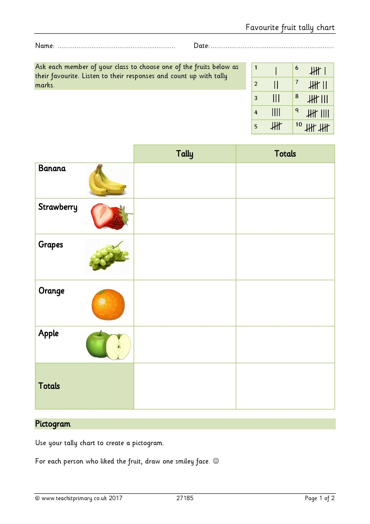 Tally Charts Grade 1 Worksheet
