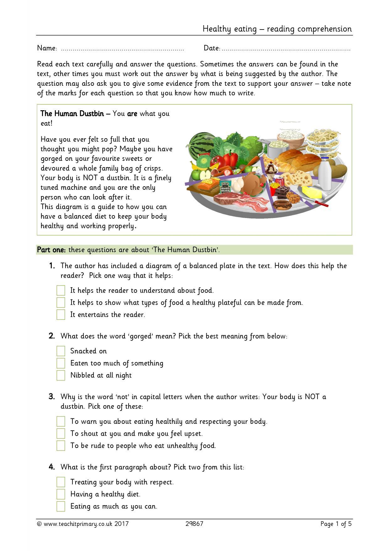 Healthy Food Reading Comprehension