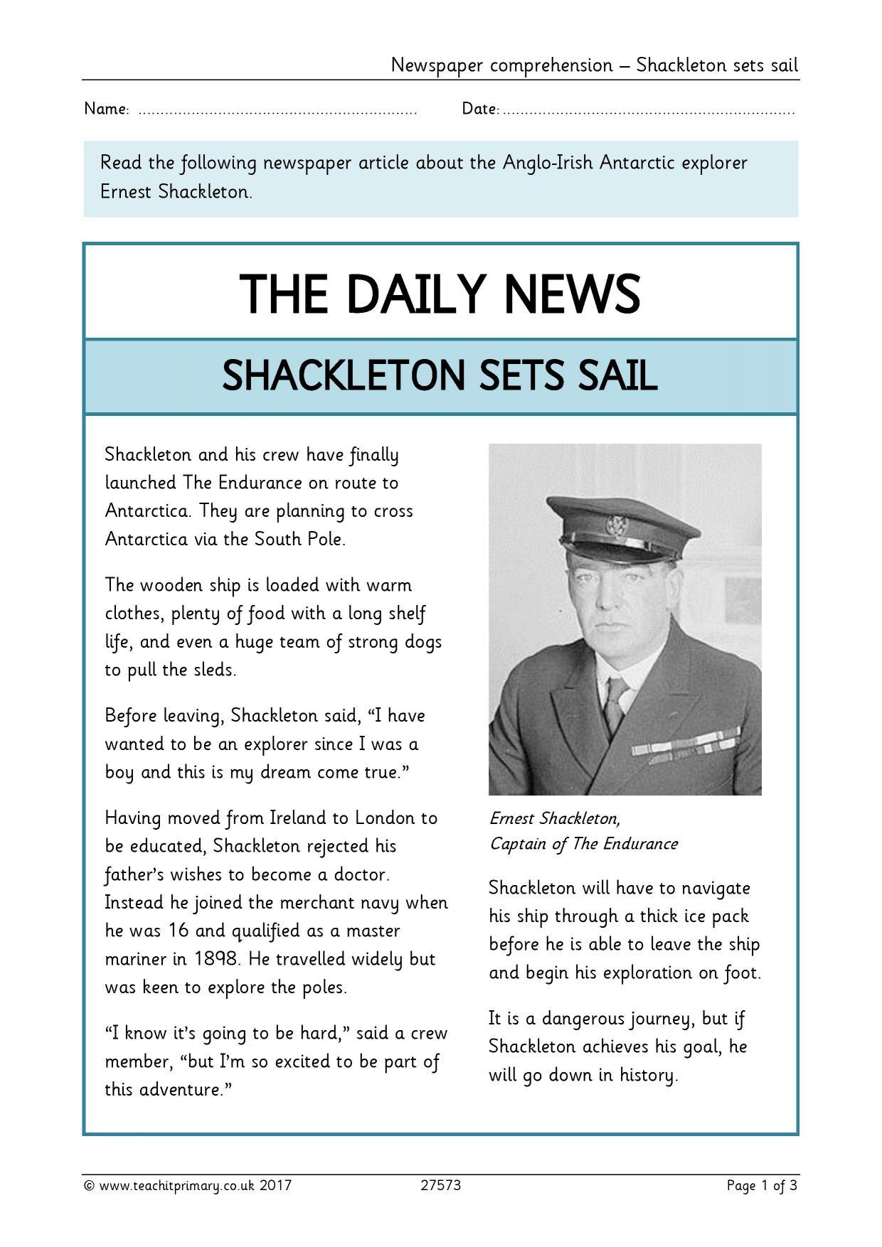 Newspaper Comprehension Shackleton Sets Sail