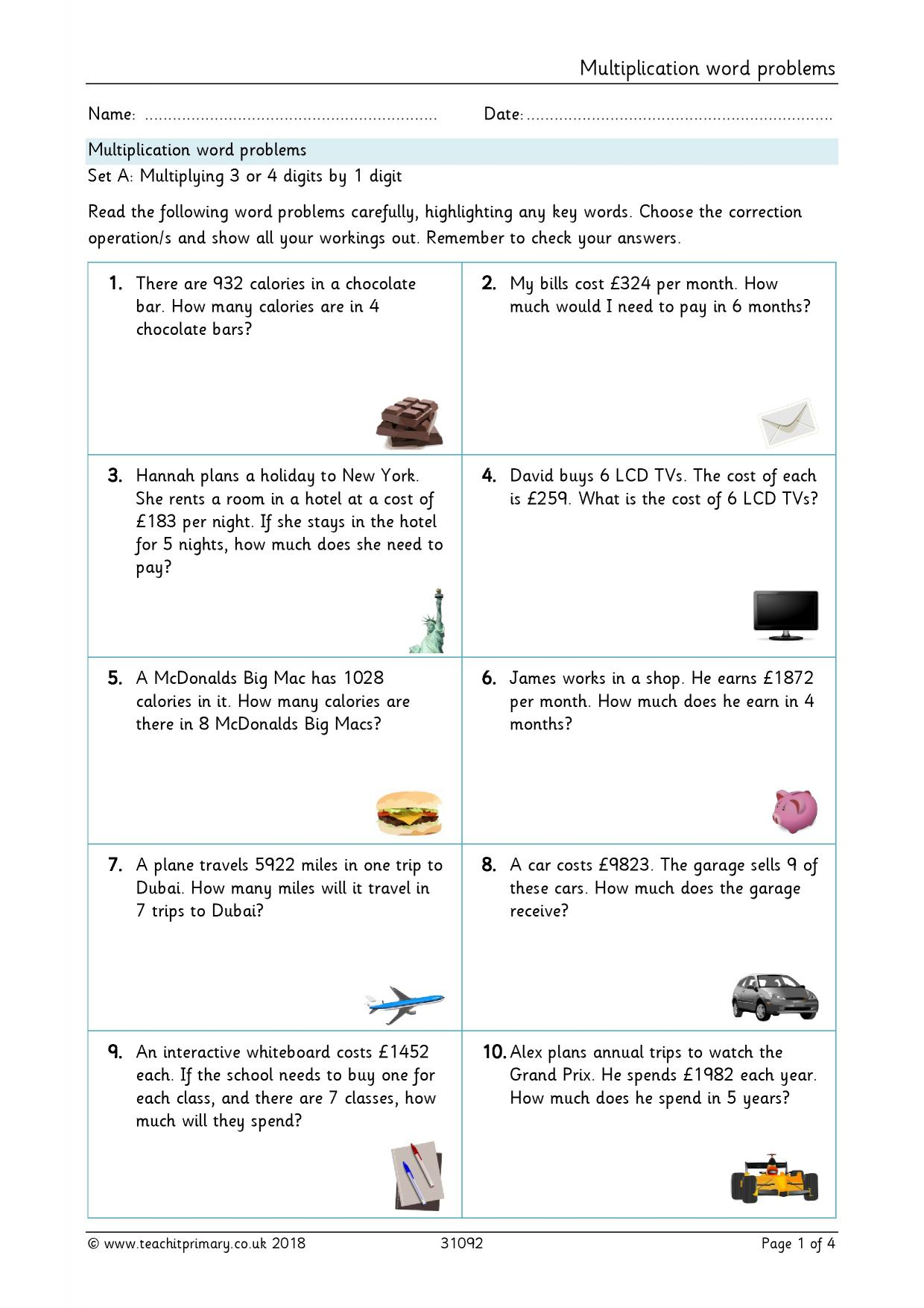 Word Problems Money Worksheet