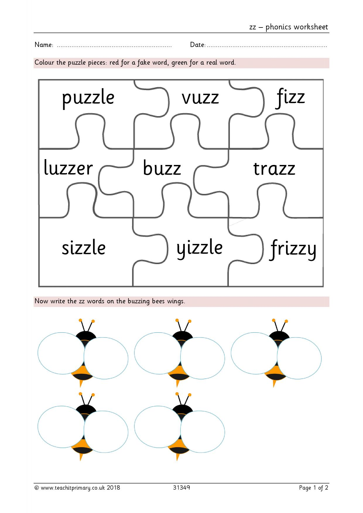 Phonics Real And Nonsense Worksheet