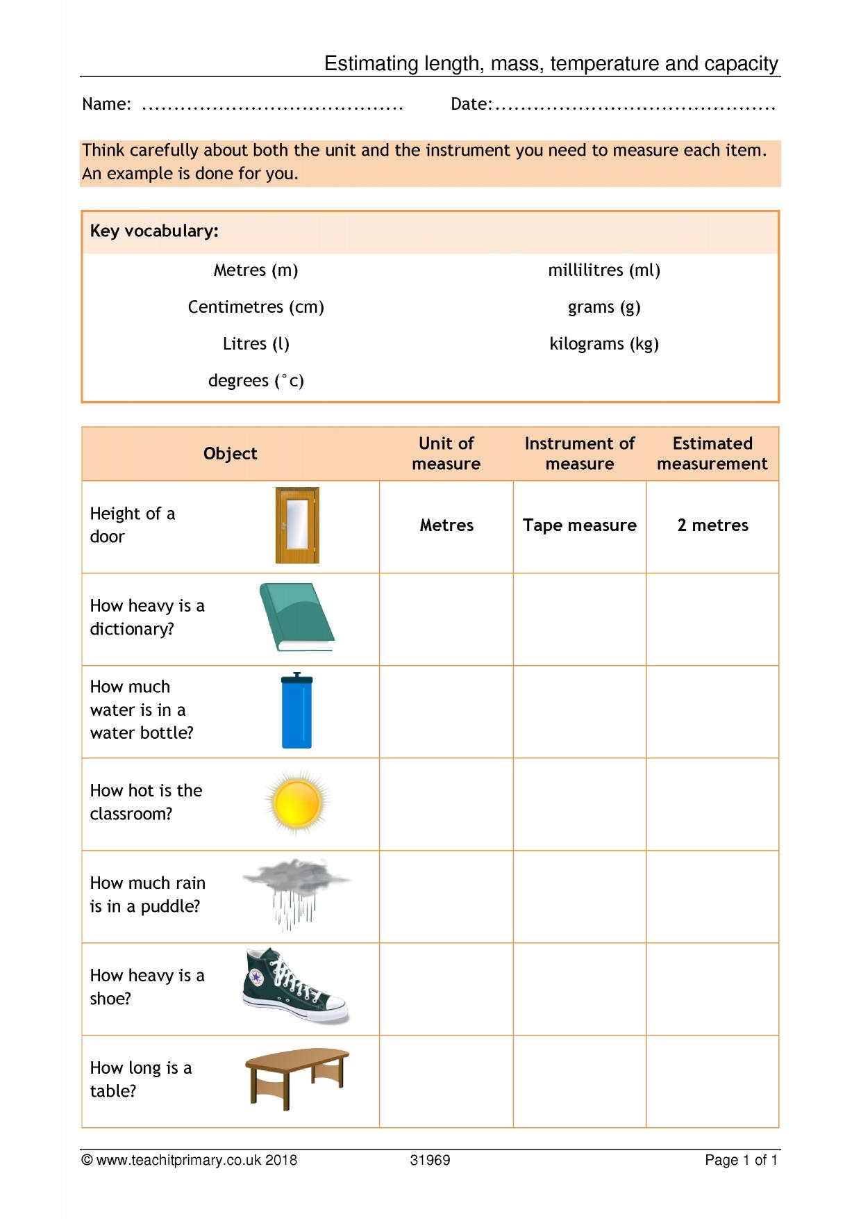 Unit Conversion Worksheet Ks2