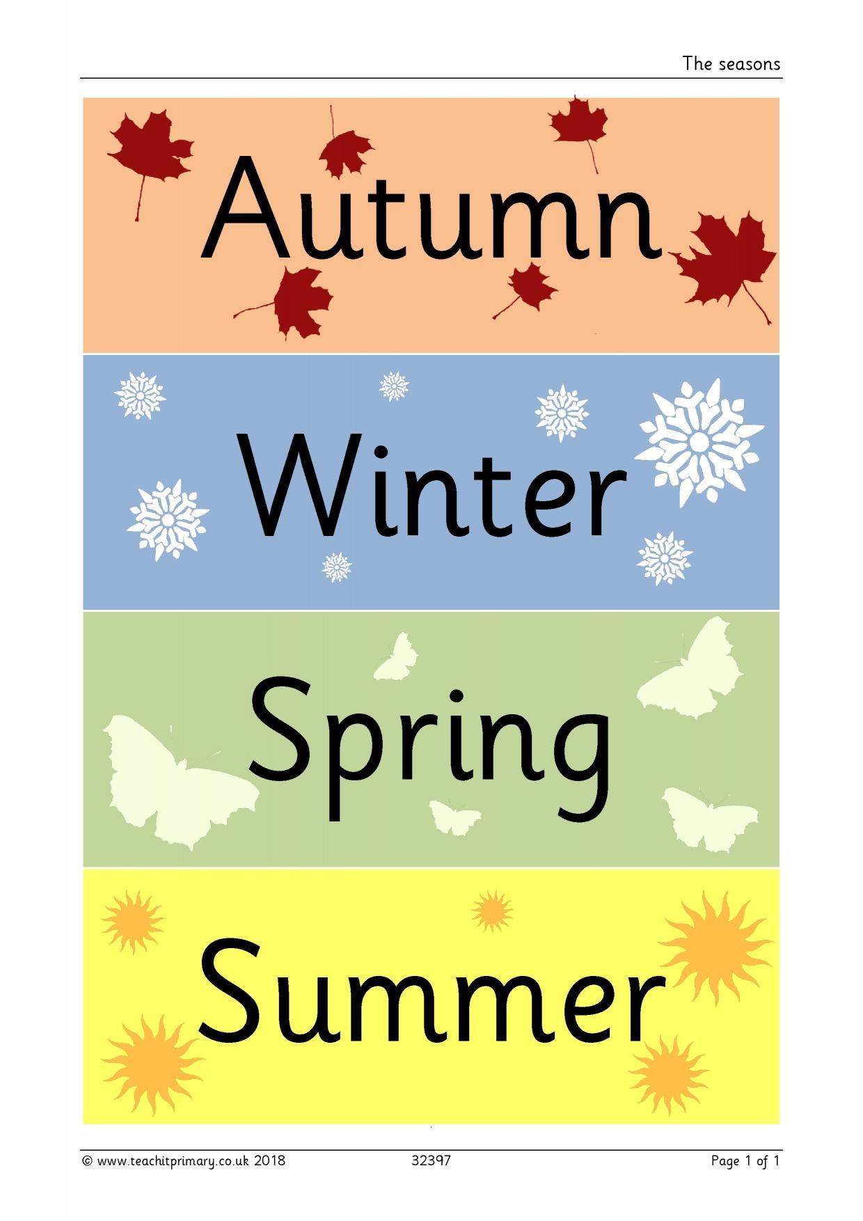The Seasons Classroom Display