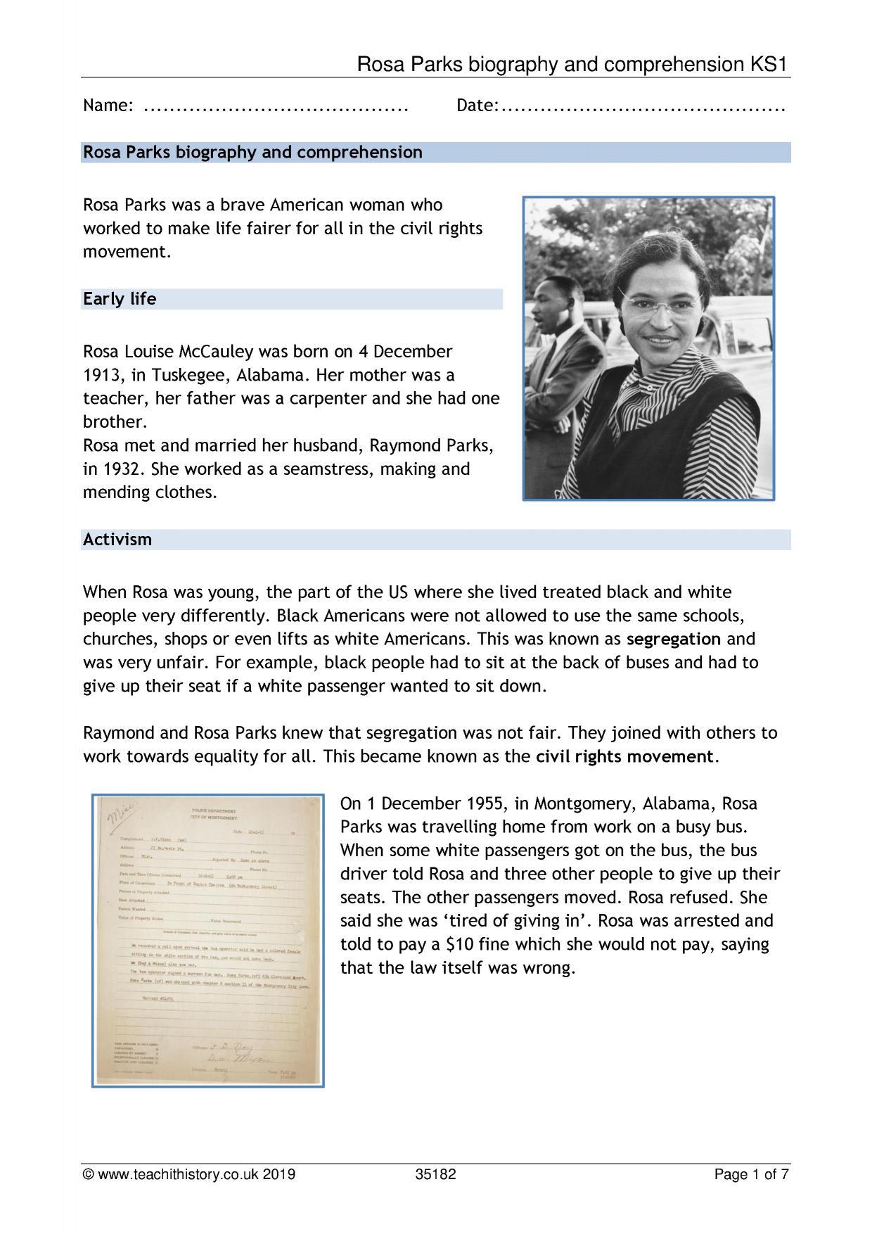 Rosa Parks Biography And Comprehension Ks1