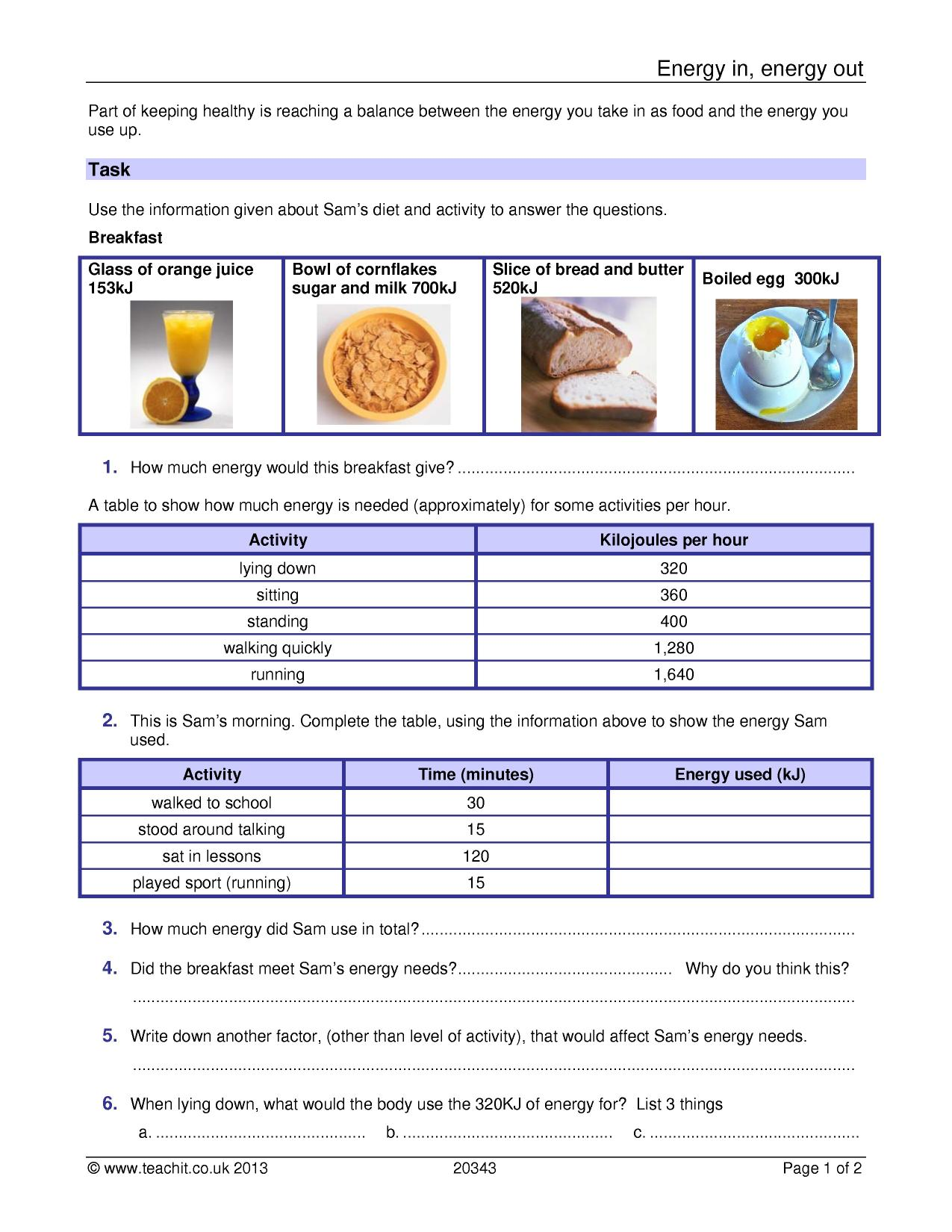Energy Worksheet Ks3