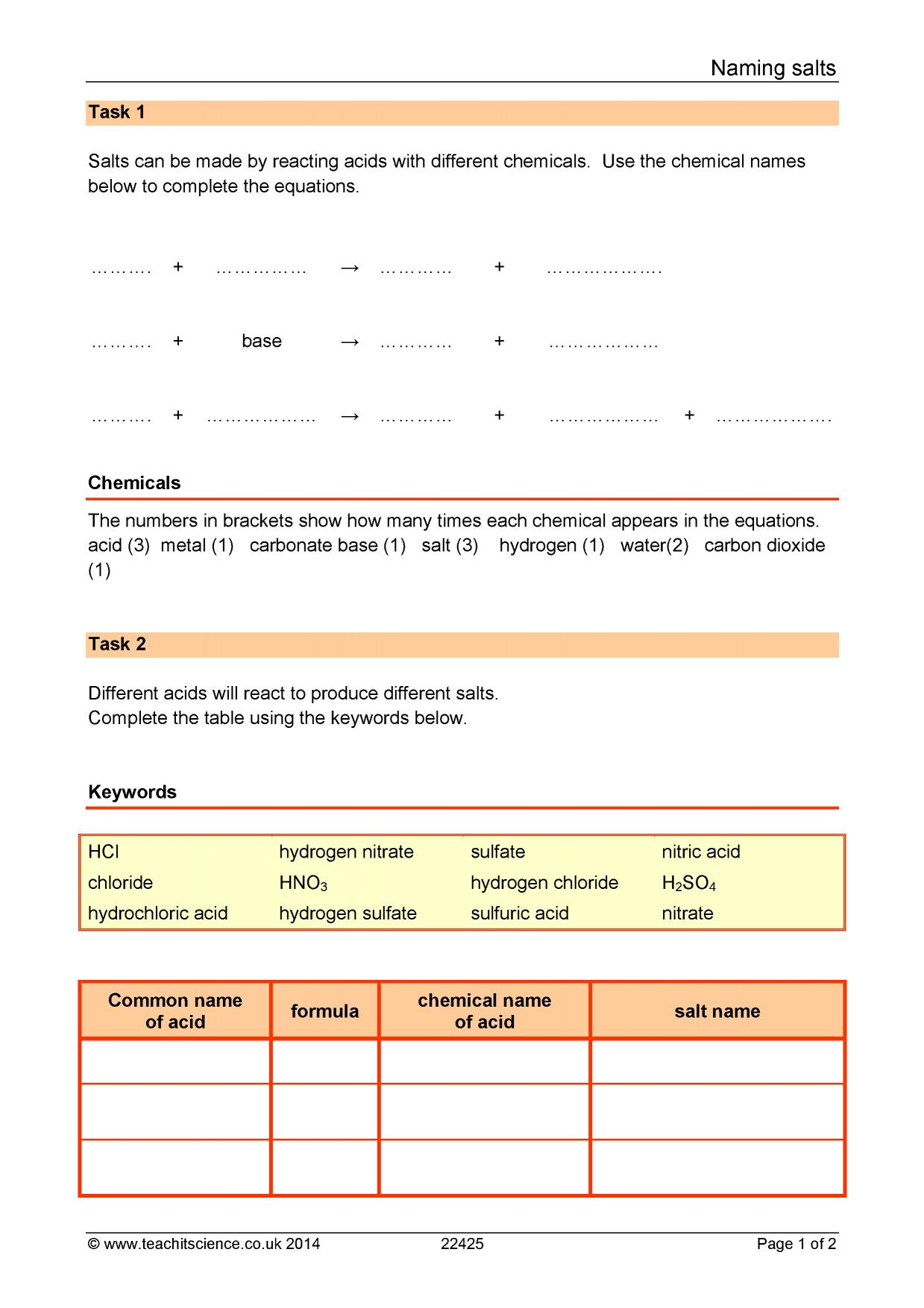 Ks3 Science Worksheets Chemistry Ks3 Best Free Printable