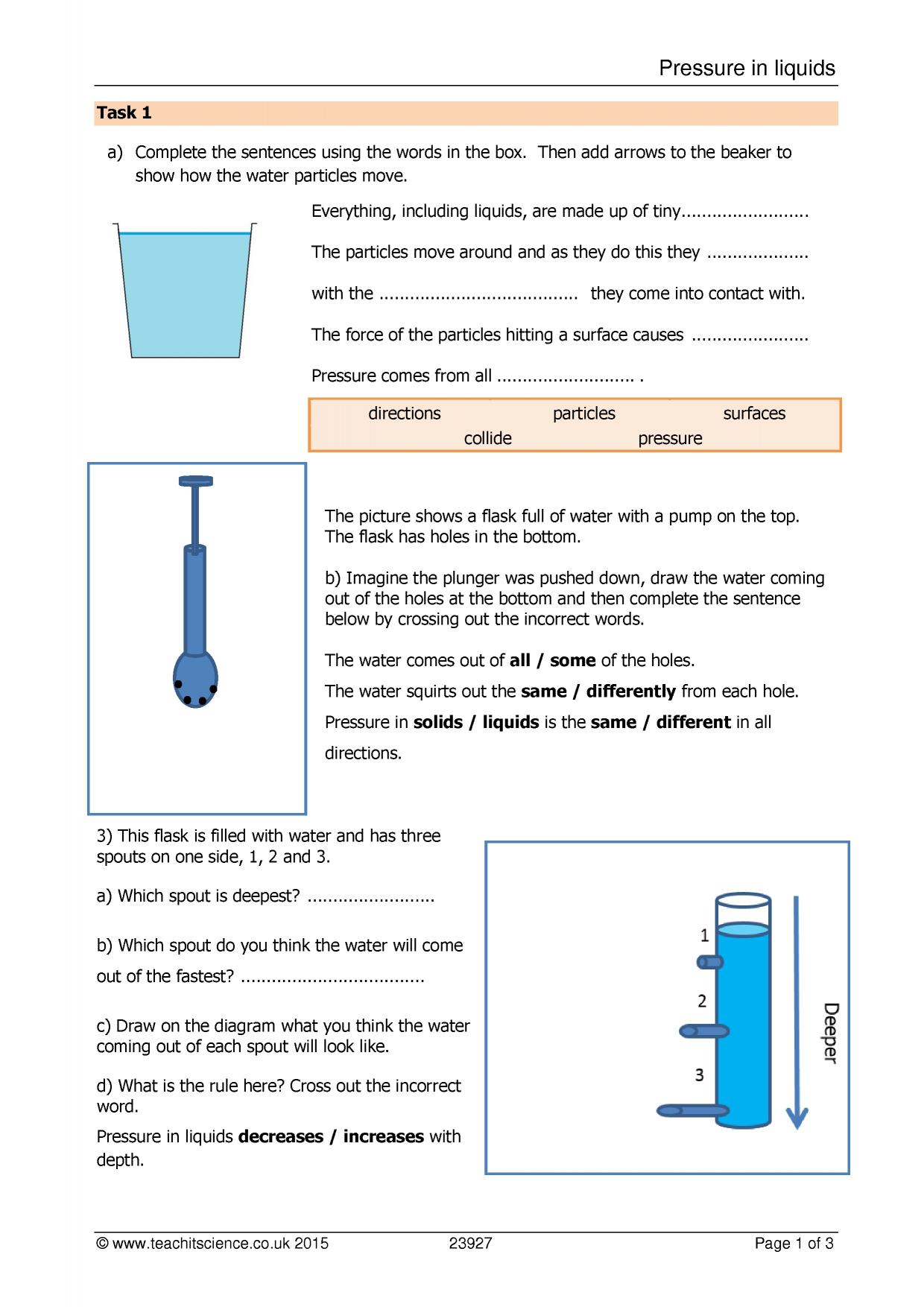 Pressure Gravity Worksheet