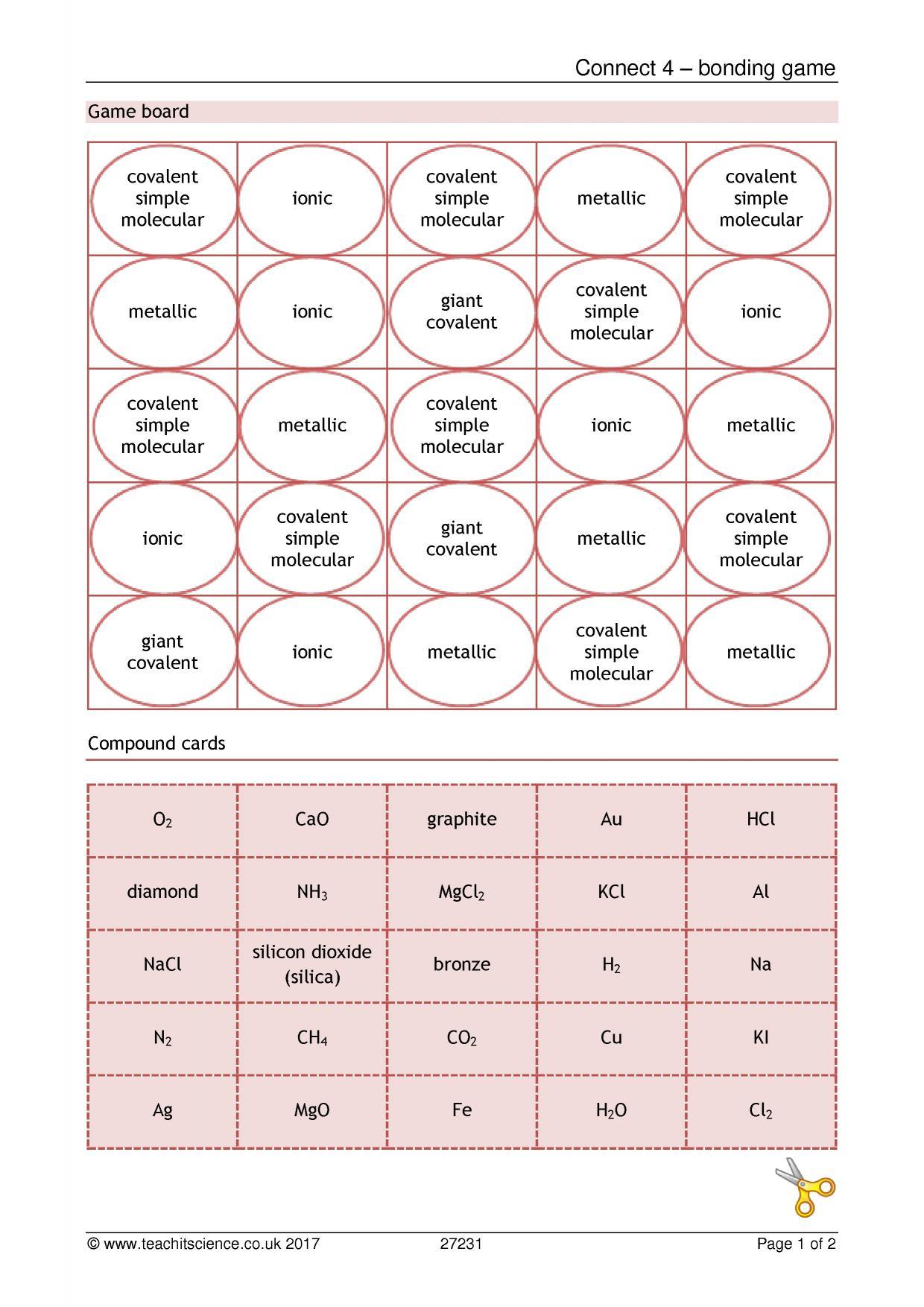 Ks4 Chemistry Teaching Resources Printable Worksheets