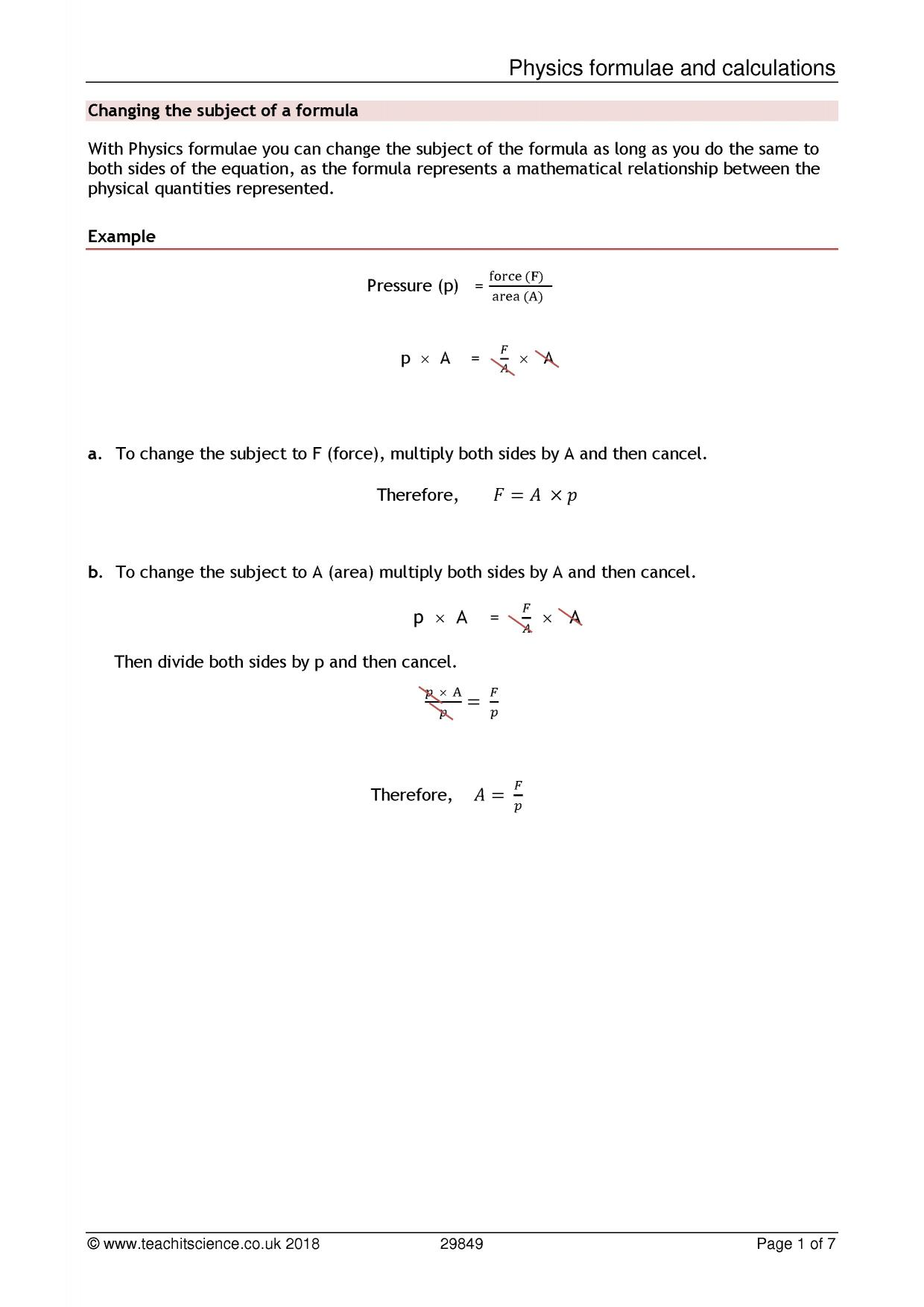 Rearranging Equations Worksheet Physics