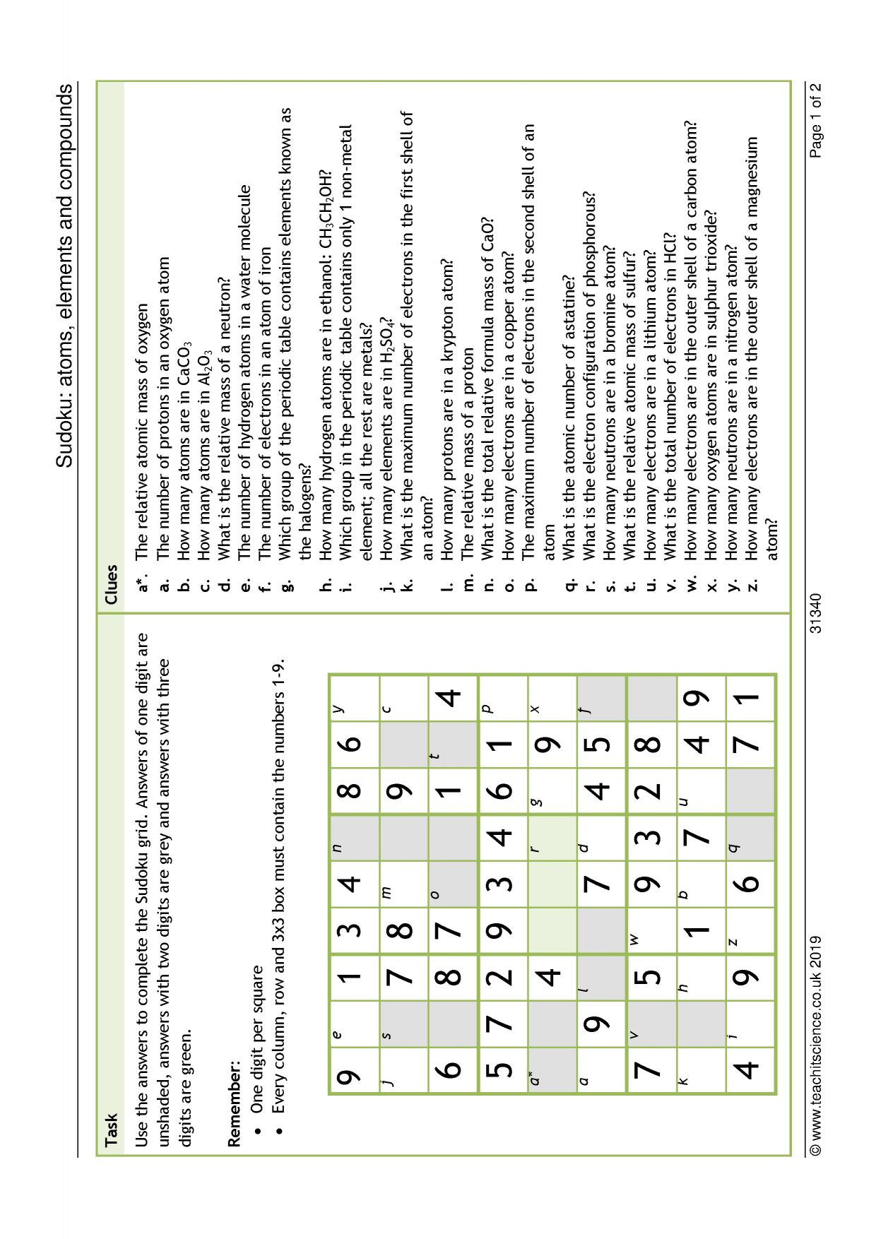 Atoms Elements And Compounds Worksheet Answers