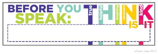 Think Before You Speak Name Tags Template Teach Junkie