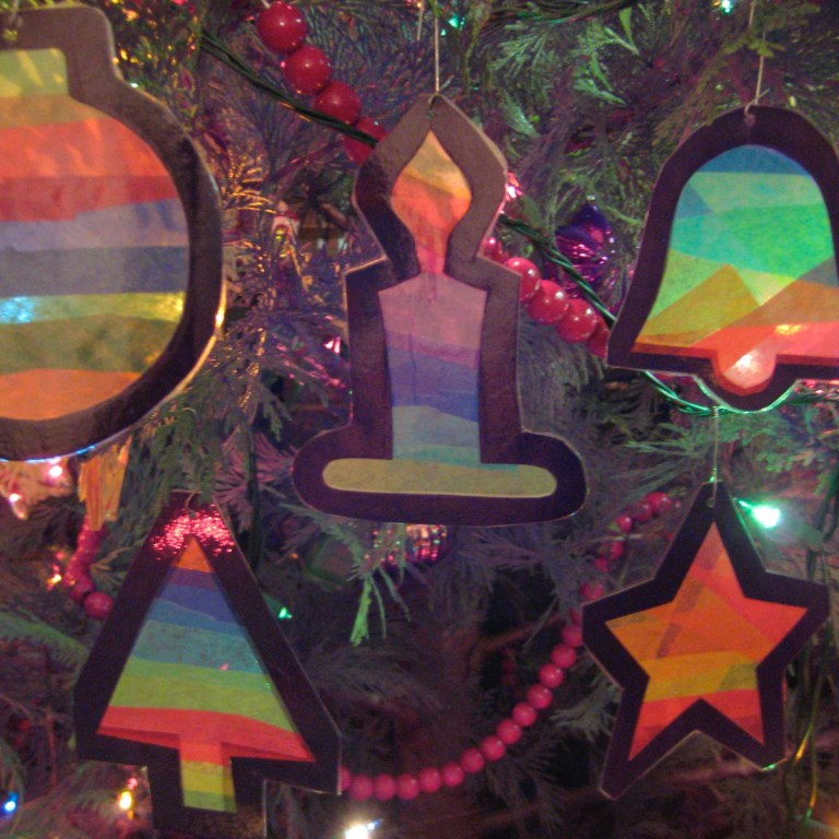 a photo of faux stained glass christmas ornaments kids can make
