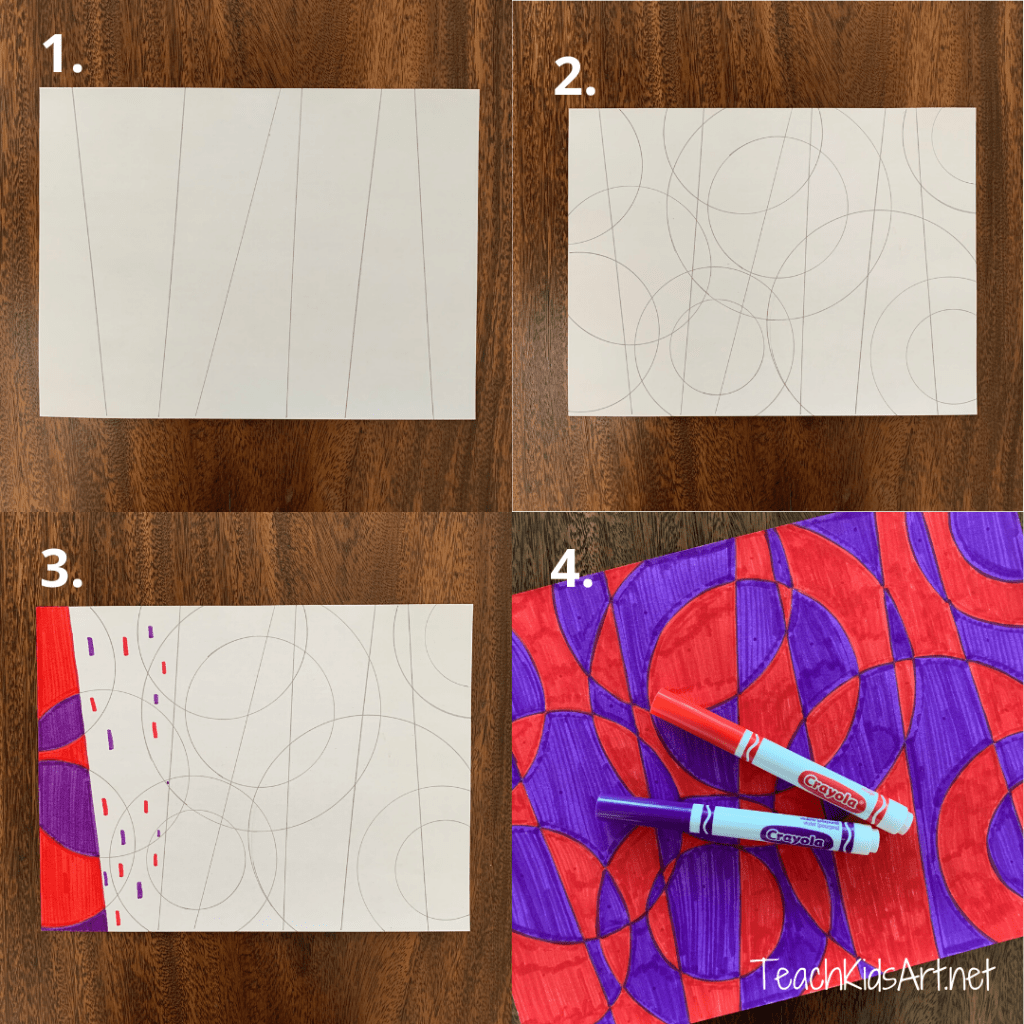 This is a photo of the steps for creating abstract art with Markers inspired by Robert and Sandra Delaunay