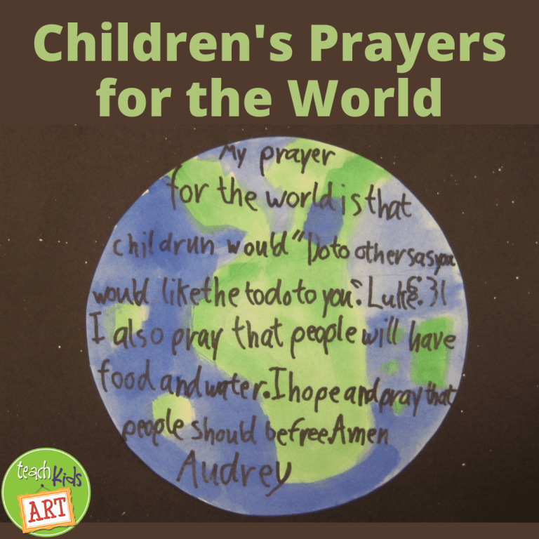 a child's prayer written on top of a painting of the Earth