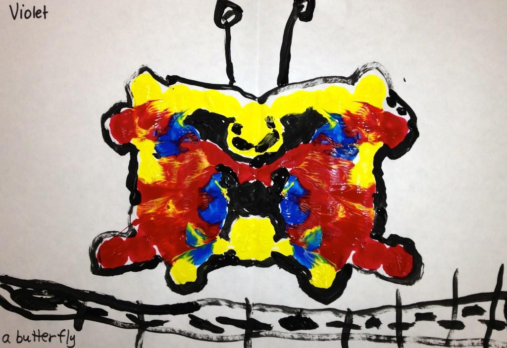 a Kindergarten Rorschach Print of a butterfly