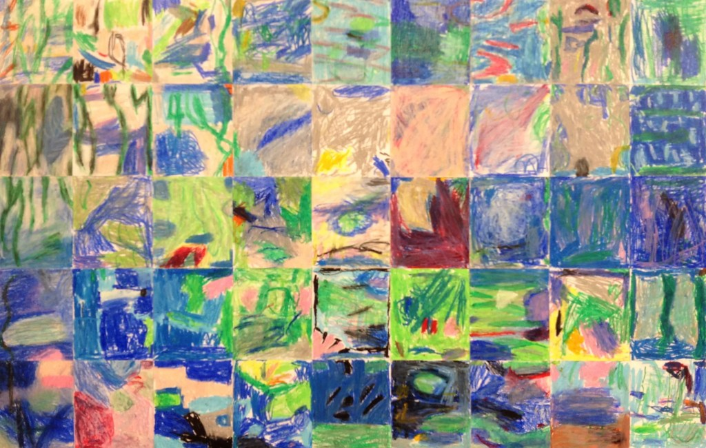 "Kindergarten Masterpiece Mosaic of ""Waterlilies"" by Claude Monet"