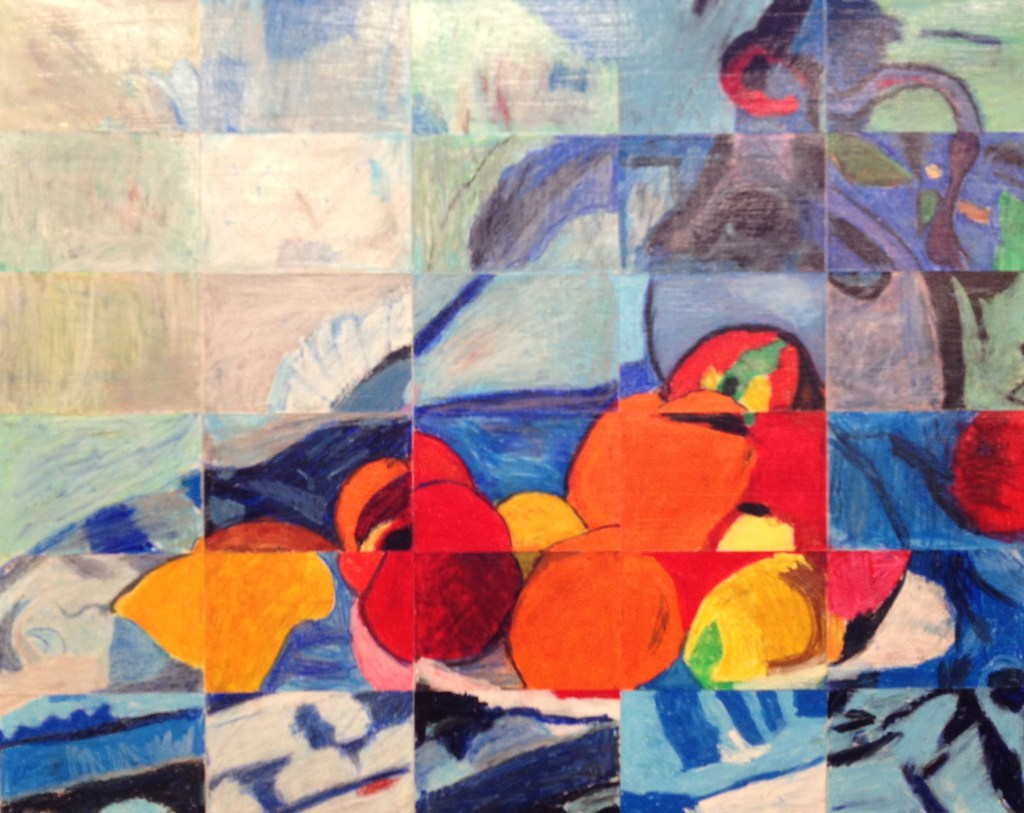 """3rd Grade Masterpiece Mosaic of """"Fruit and a Jug on a Table"""" by Paul Cezanne"""