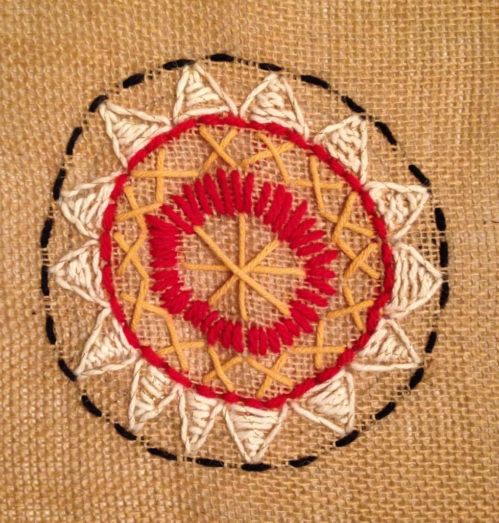 Burlap Needlepoint Mandala