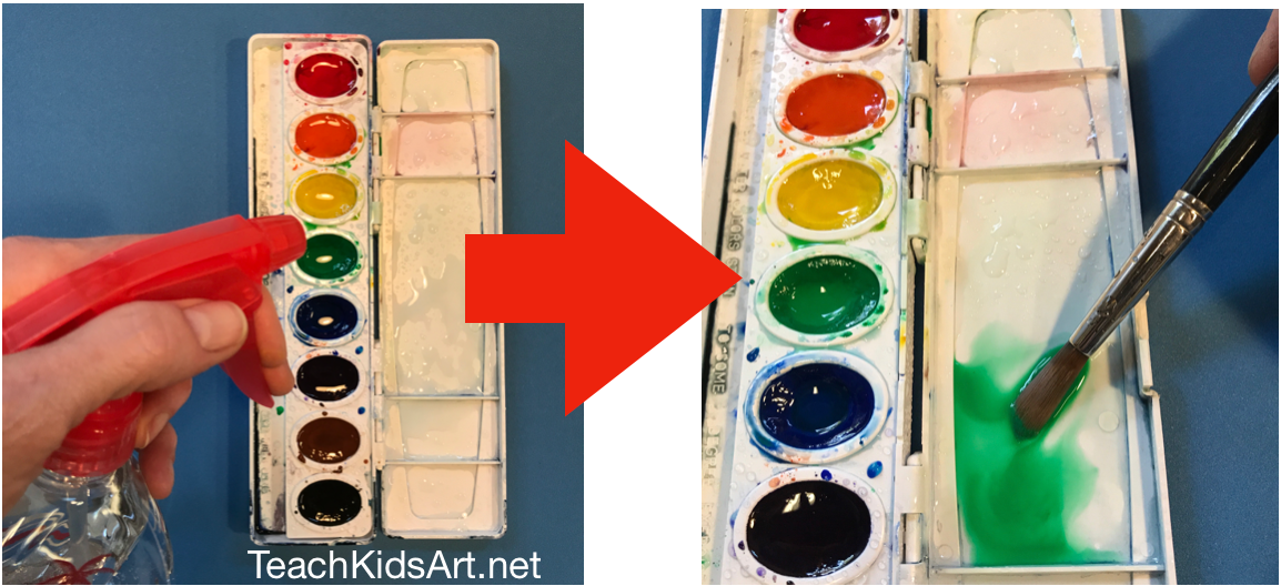 """Use a squirt bottle to soften paint and create """"puddles"""" to paint from"""