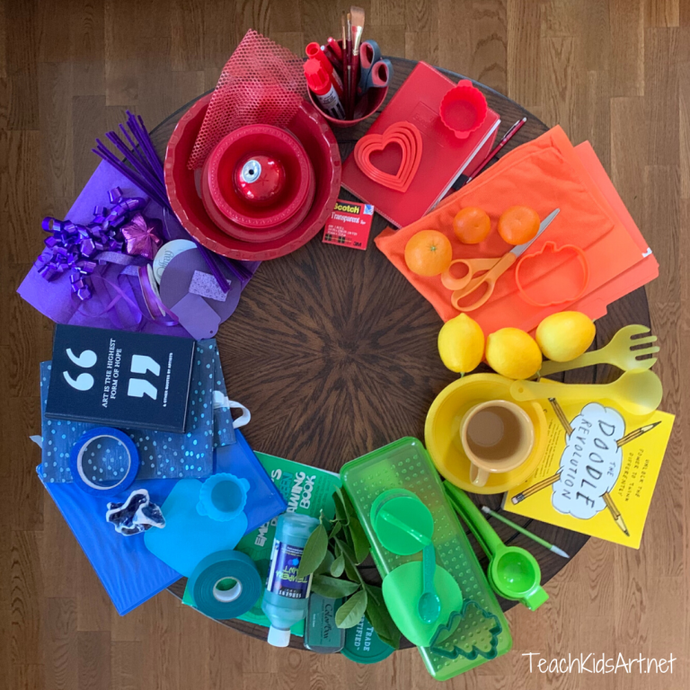 Photo of a color wheel made with found objects from around the house