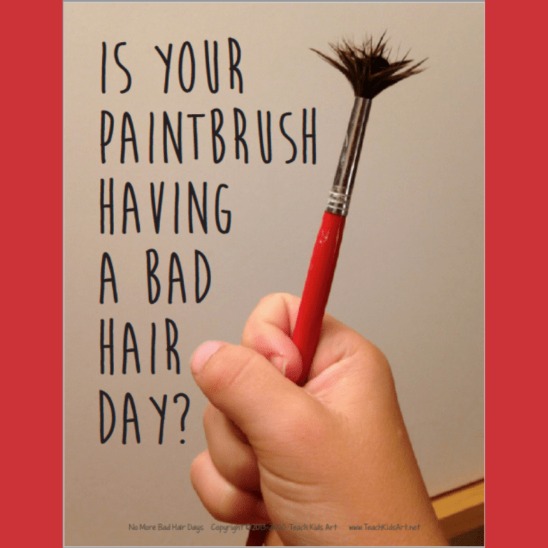 """Photo of a childs hand holding a paintbrush with the bristles splayed out and the question, """"Is your Paintbrush Having a Bad Hair Day?"""""""