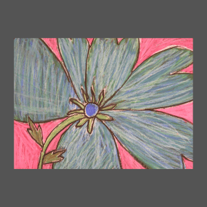 A Grade 3 Child's Oil Pastel Flower Inspired by Georgia O'Keeffe
